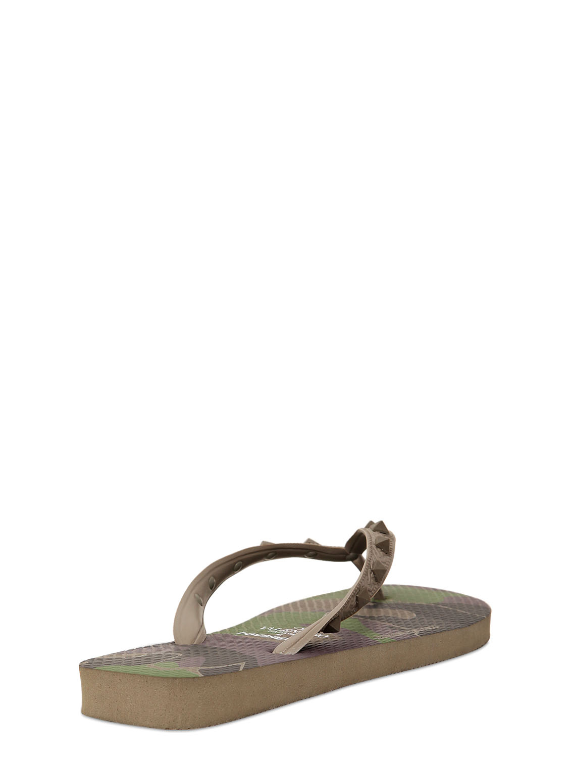 Valentino Rubber Camouflage Studded Flip Flops In Green -7600