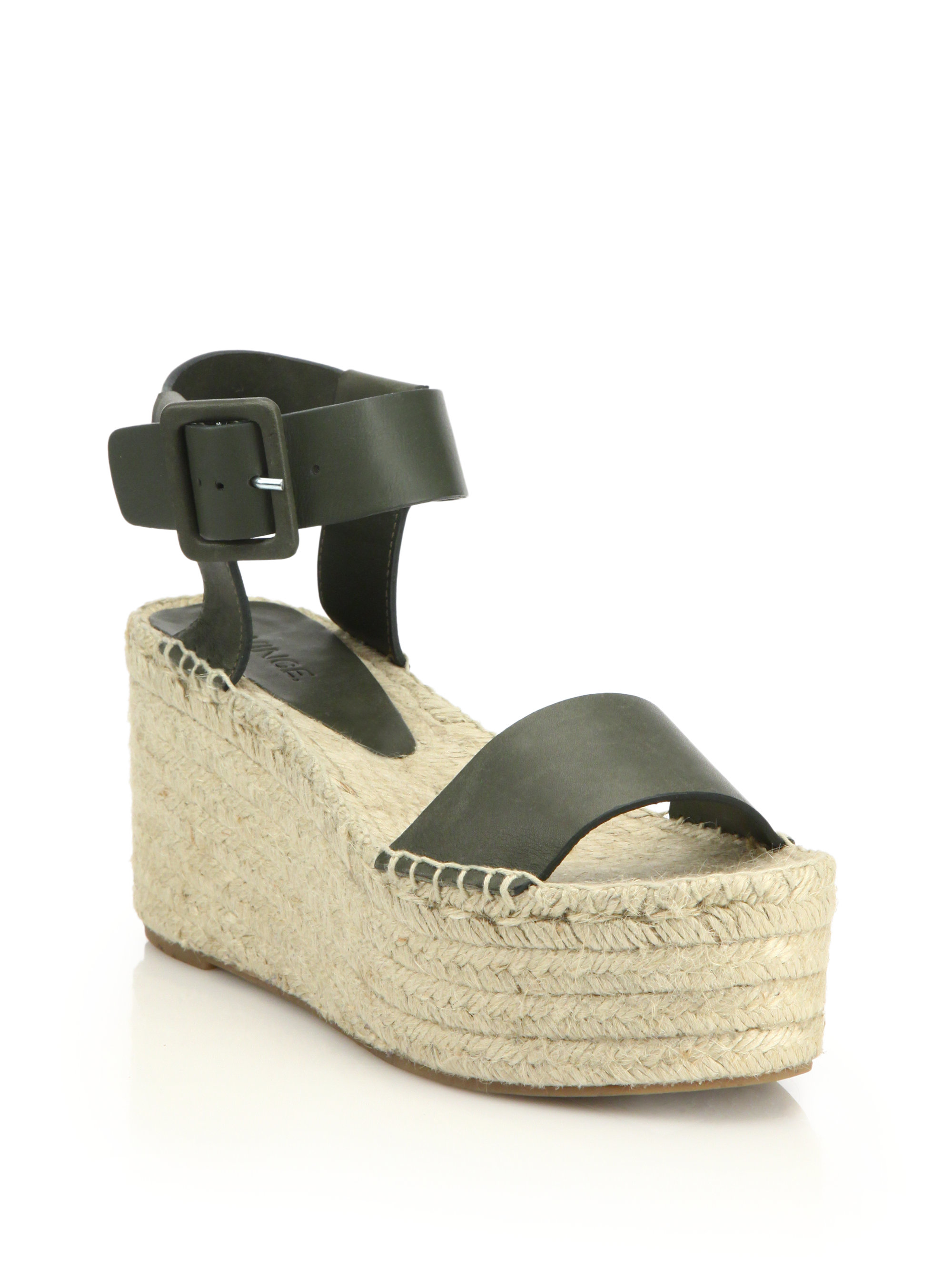 Lyst - Vince Abby Leather Espadrille Platform Wedge Sandals in Green
