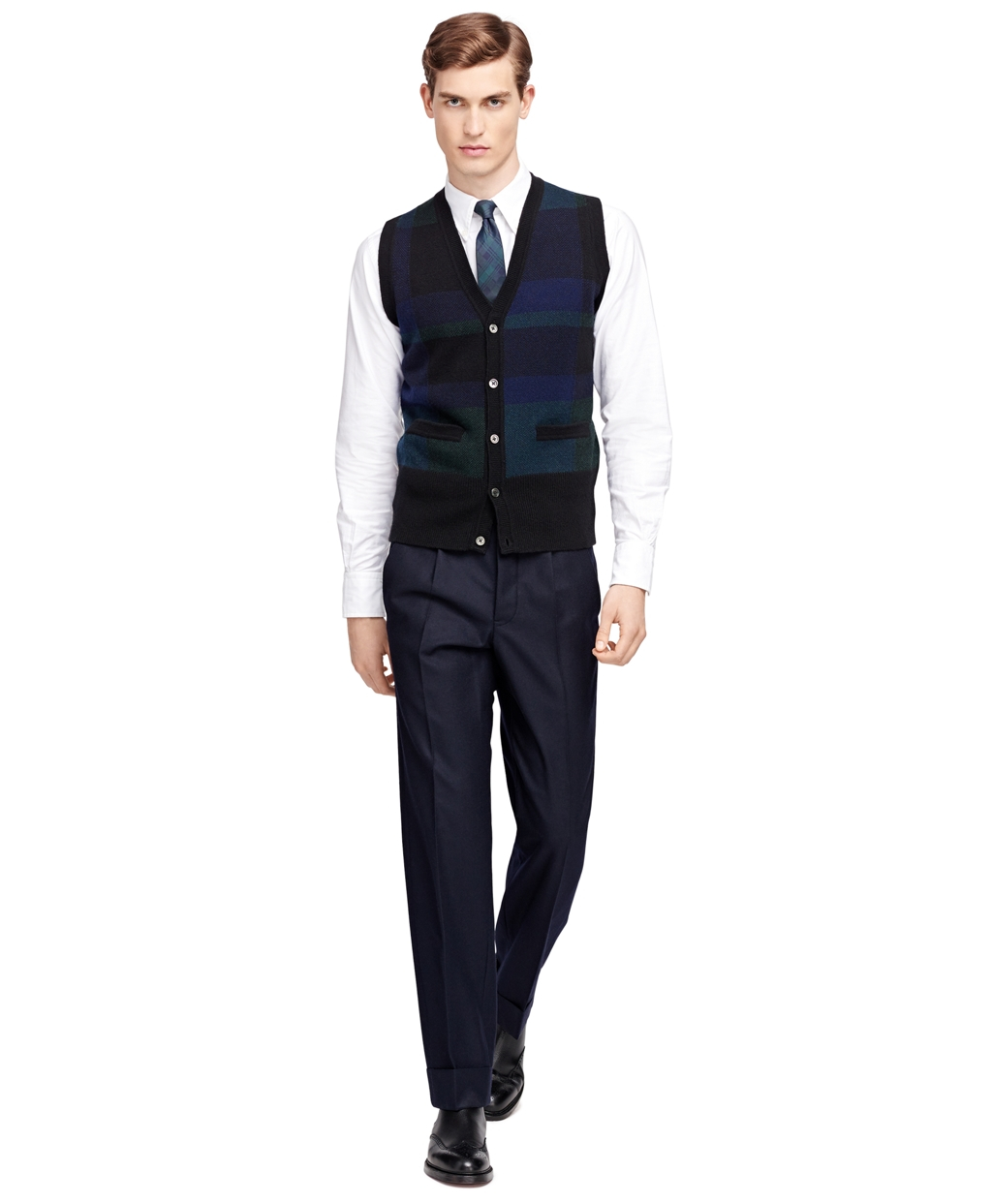 Brooks Brothers Plaid Button Front Vest In Black For Men Lyst