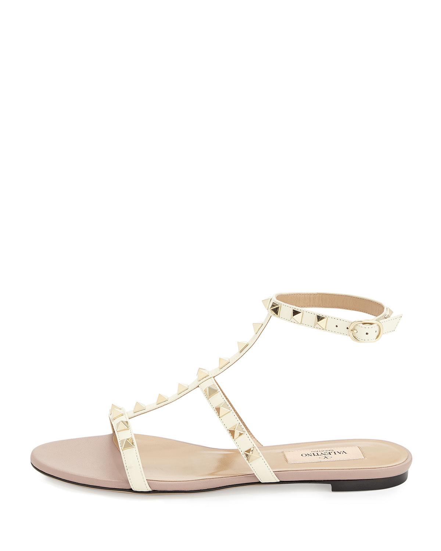 Sandal Lyst Valentino Ankle White Flat In Rockstud Strap W9IH2ED