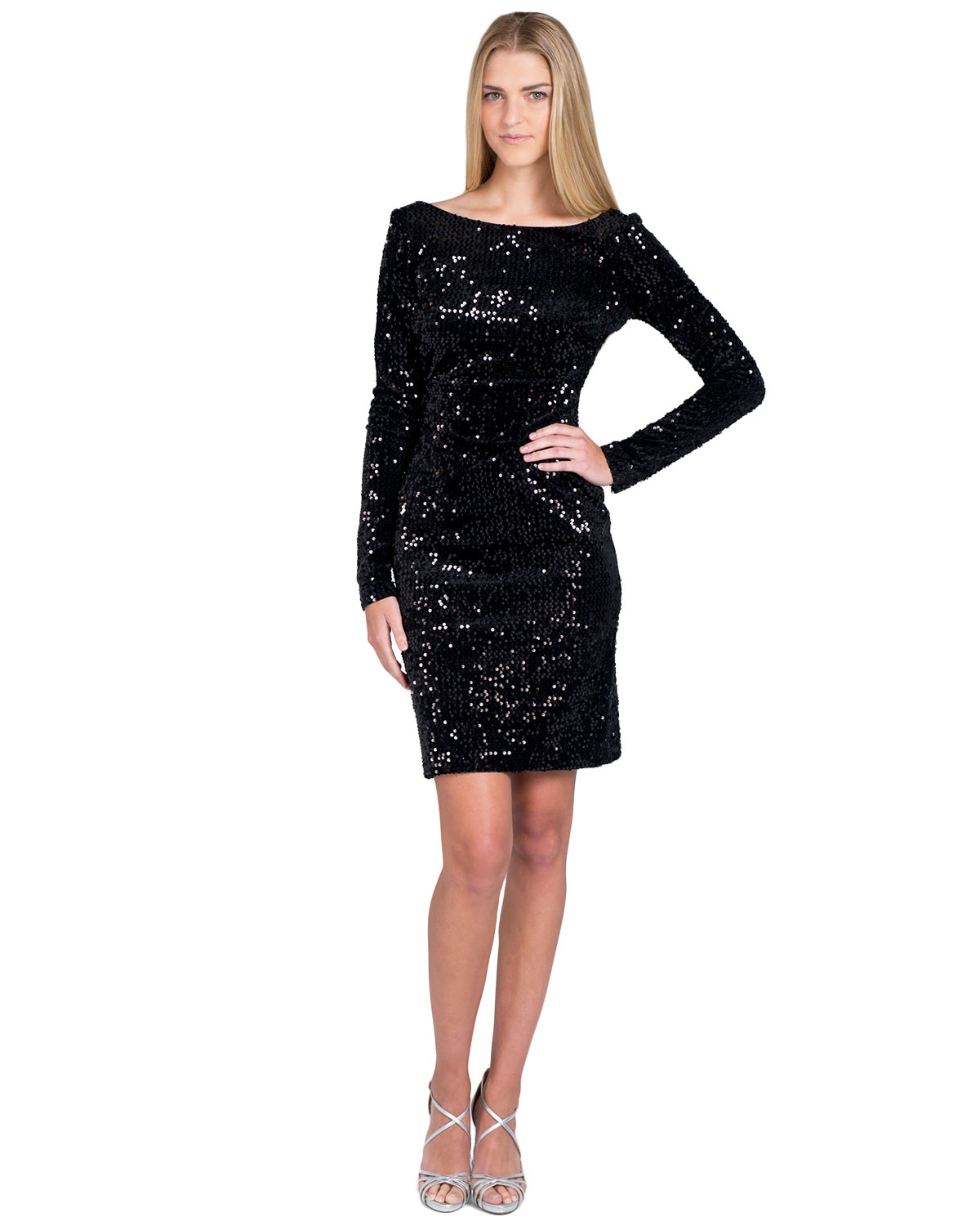 Badgley Mischka | Black Velvet Sequin Cocktail Dress | Lyst