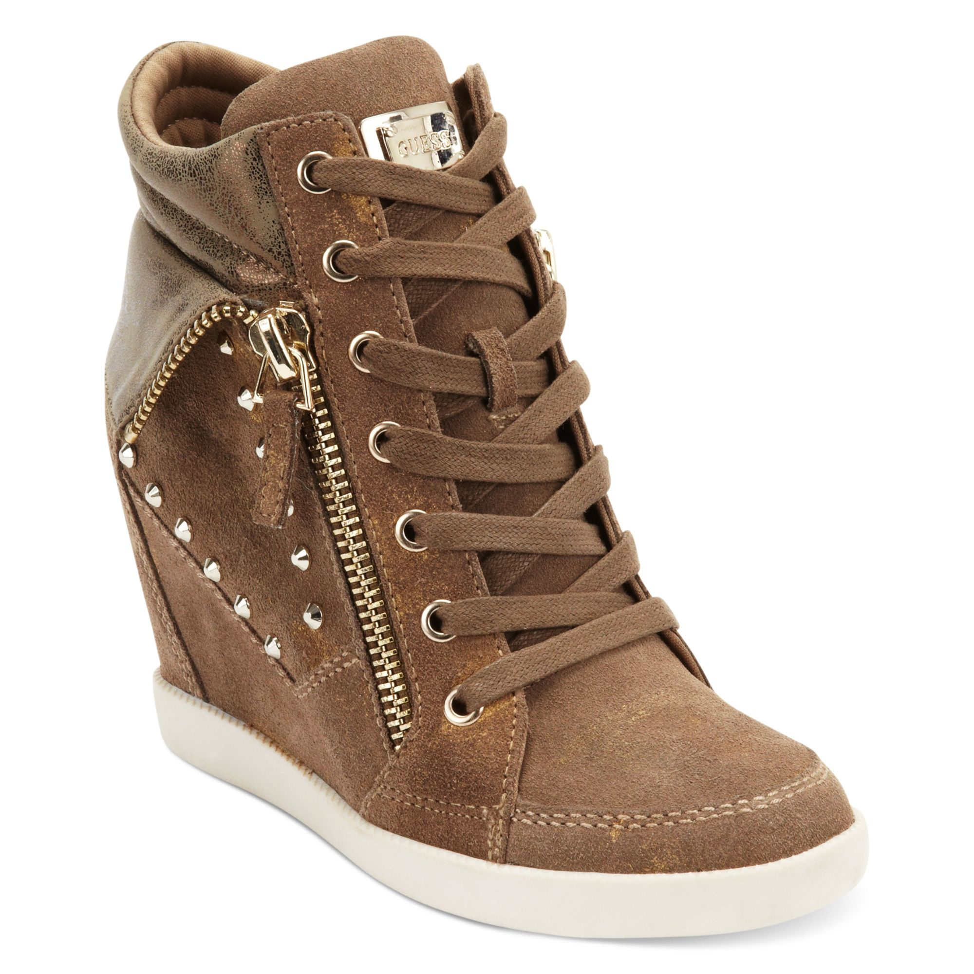 a9d3314d0fc Guess Brown Hitzo Wedge Sneakers