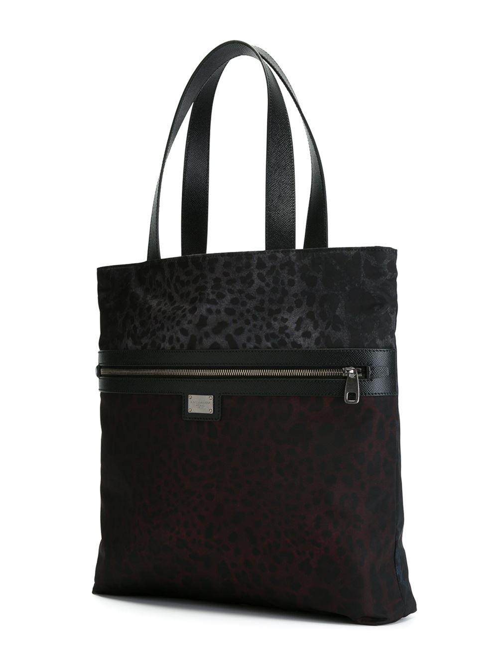 Dolce & Gabbana Leopard Print Reversible Shopper in Red (Black) for Men