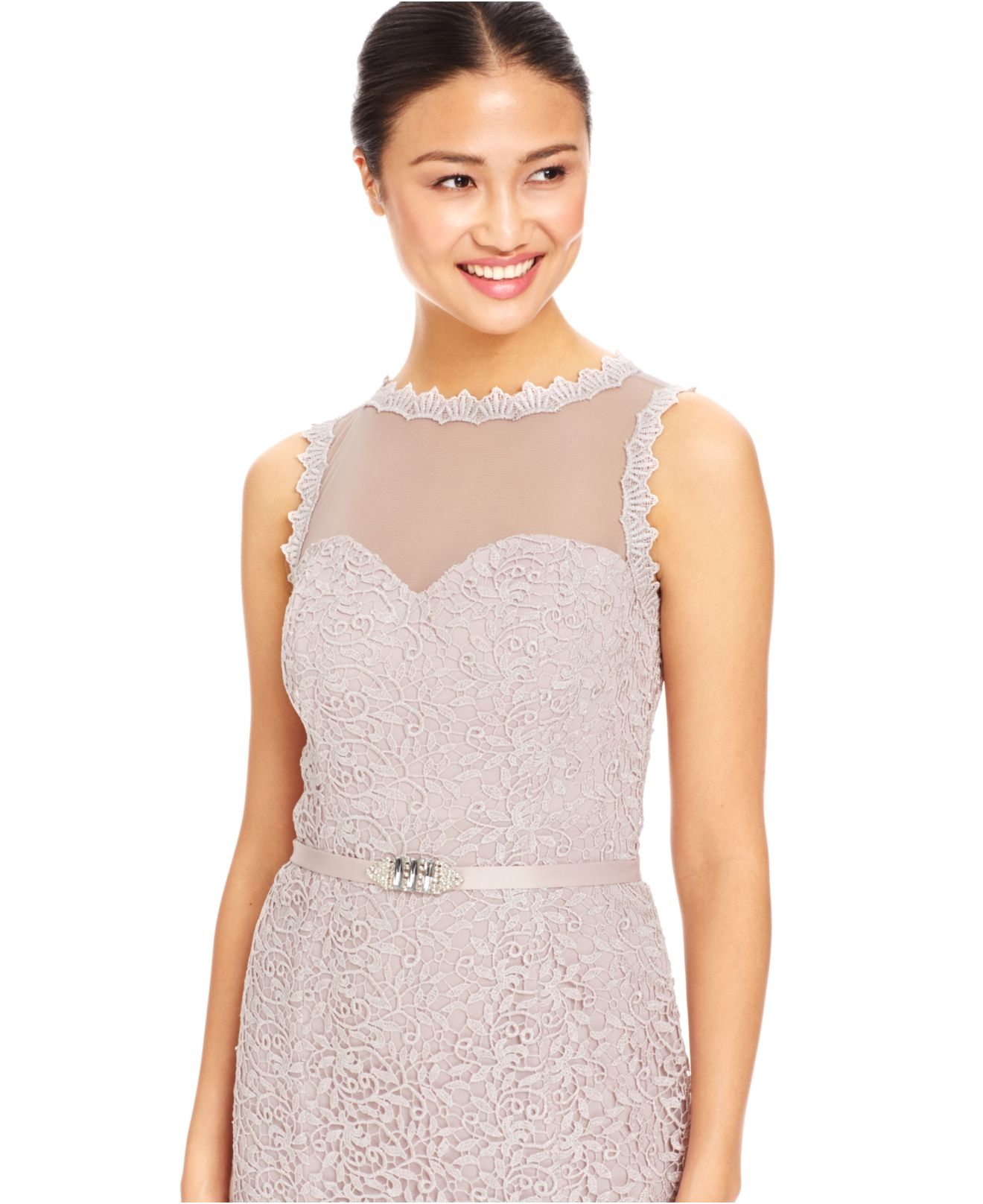 Snap Lyst Js Collections Illusion Lace Gown in Pink photos on Pinterest