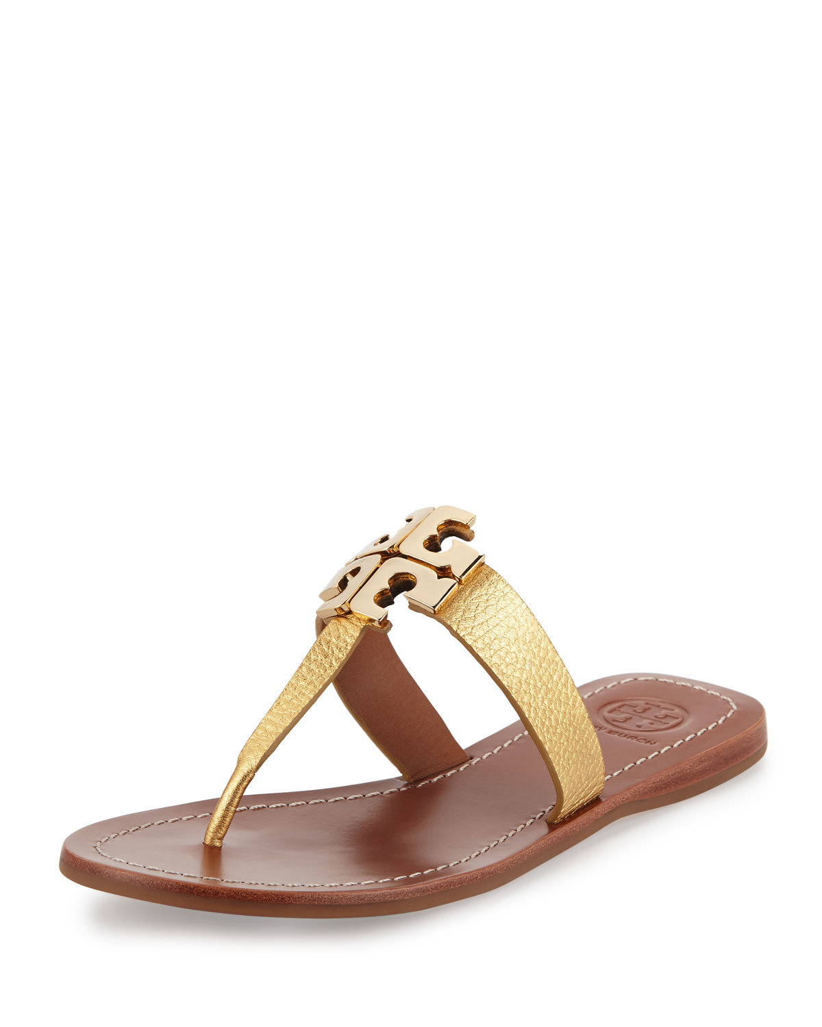 Tory Burch Moore 2 Flat Leather Thong Sandal In Metallic