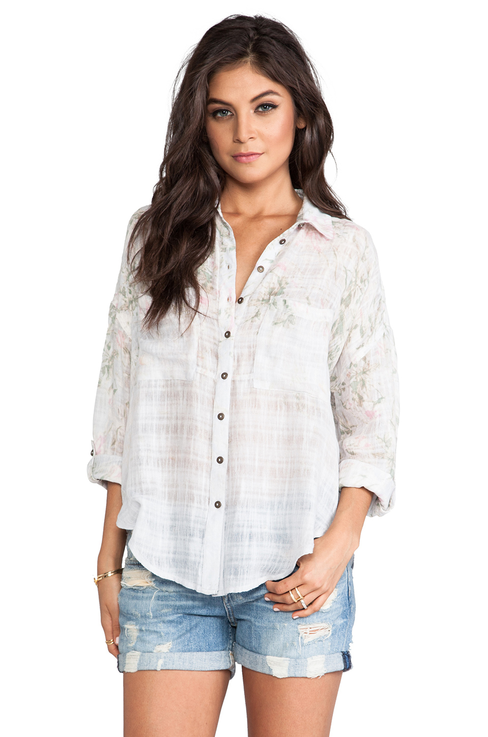 cbbf417e0 Lyst - Free People Printed Shibori Siren Button Down in Purple