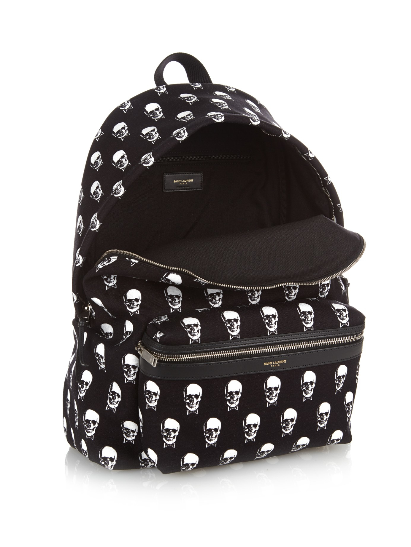 Lyst - Saint Laurent Skull-Print Canvas Backpack In Black -8671