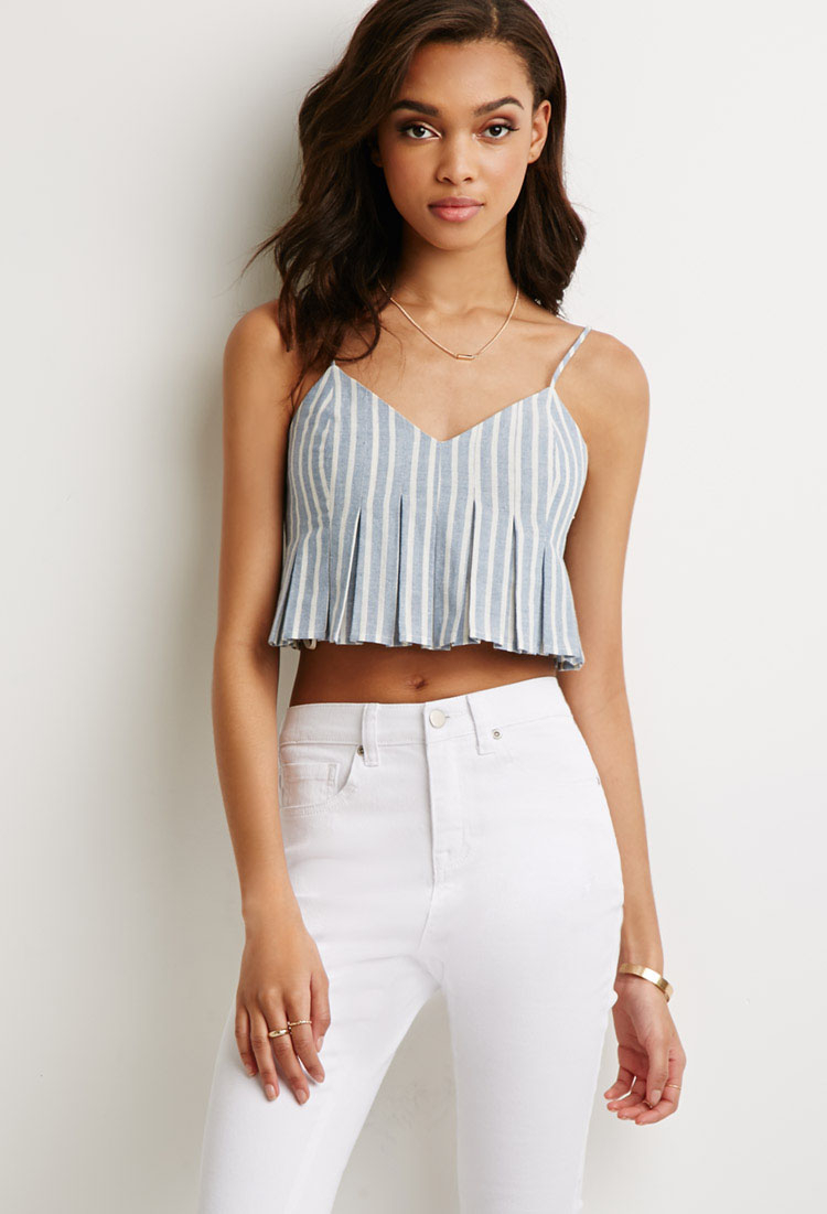 a199fc928fe Forever 21 Blue Striped Cami Crop Top