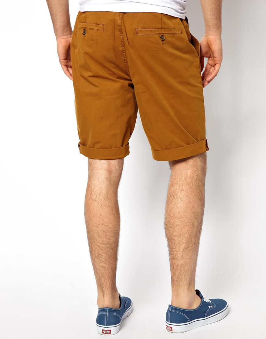 Asos Chino Shorts in Longer Length in Brown for Men | Lyst