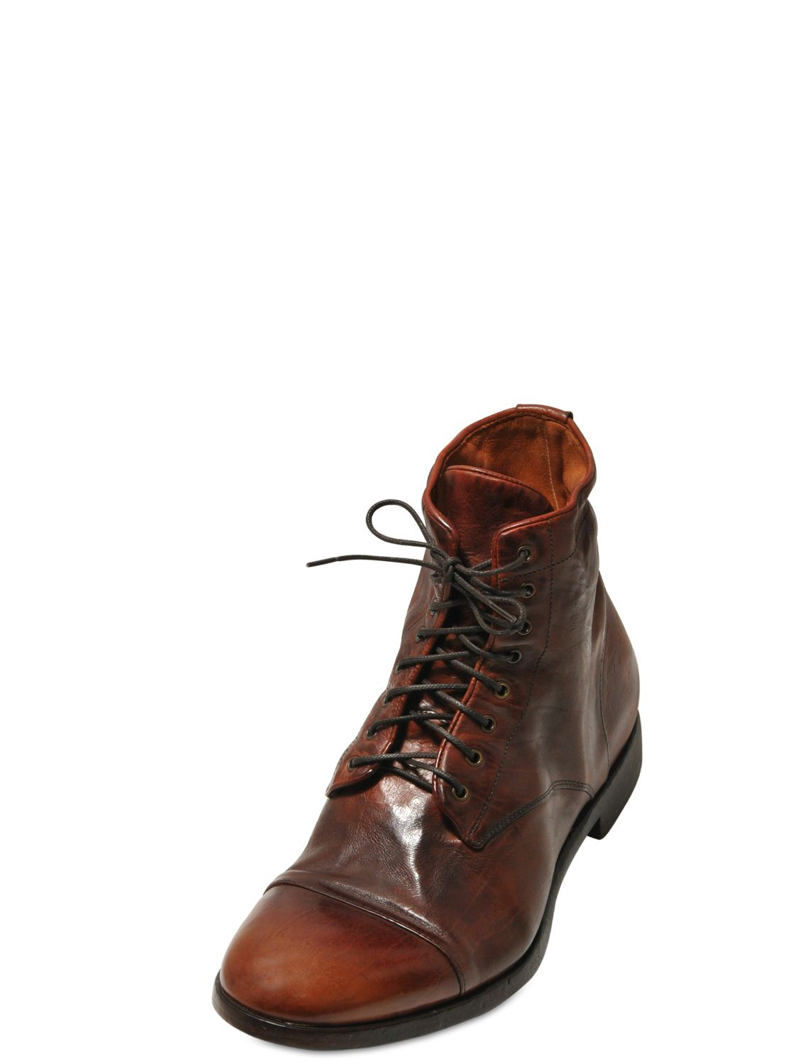 rolando sturlini washed leather lace up boots in brown for