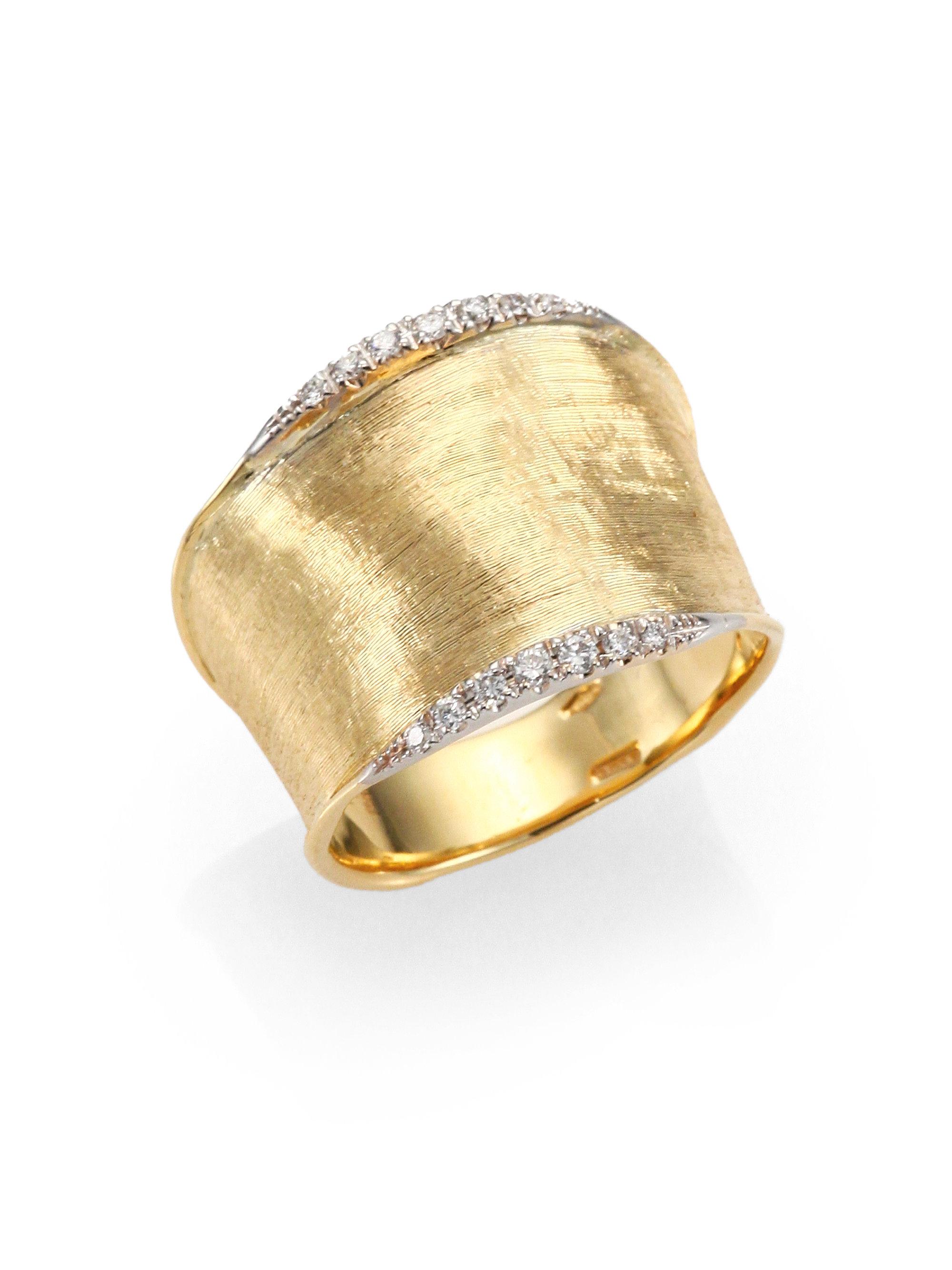 Marco Bicego Lunaria Diamond Amp 18k Yellow Gold Band Ring