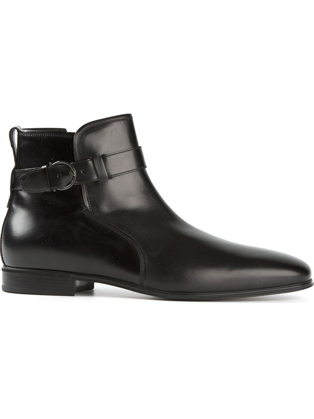 ferragamo buckled boots in black for lyst