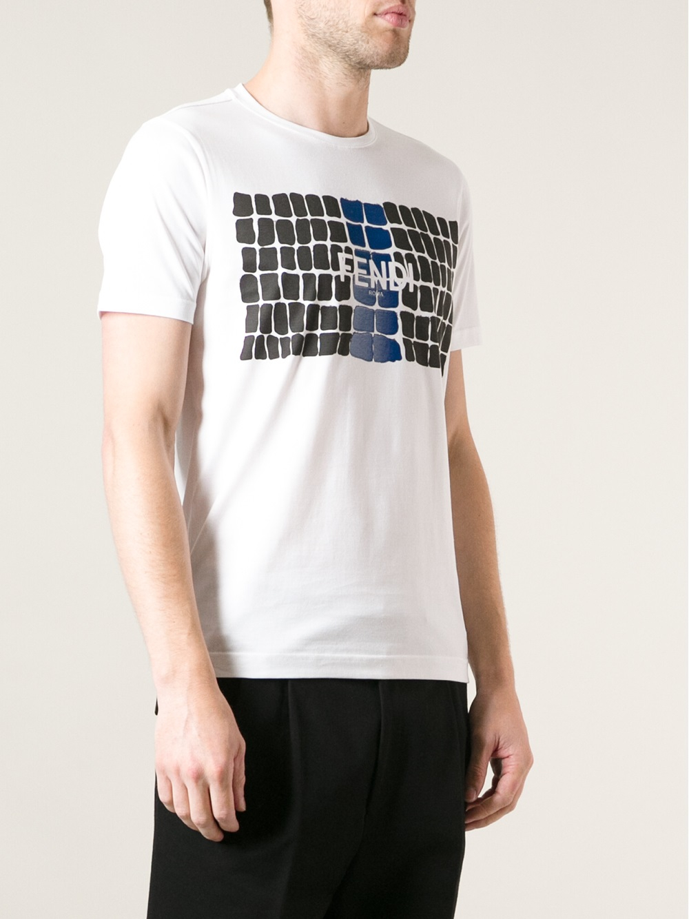 Lyst Fendi Logo Squares Print T Shirt In White For Men
