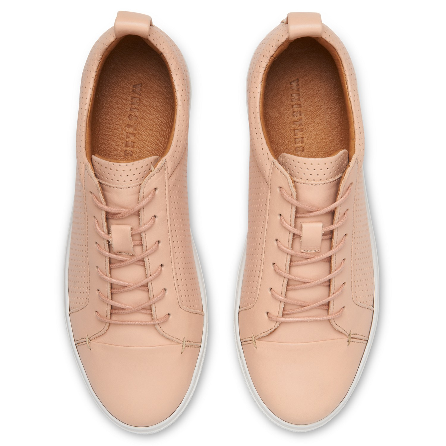 Whistles Leather Kenley Lace Up Trainers in Nude Leather (Natural)