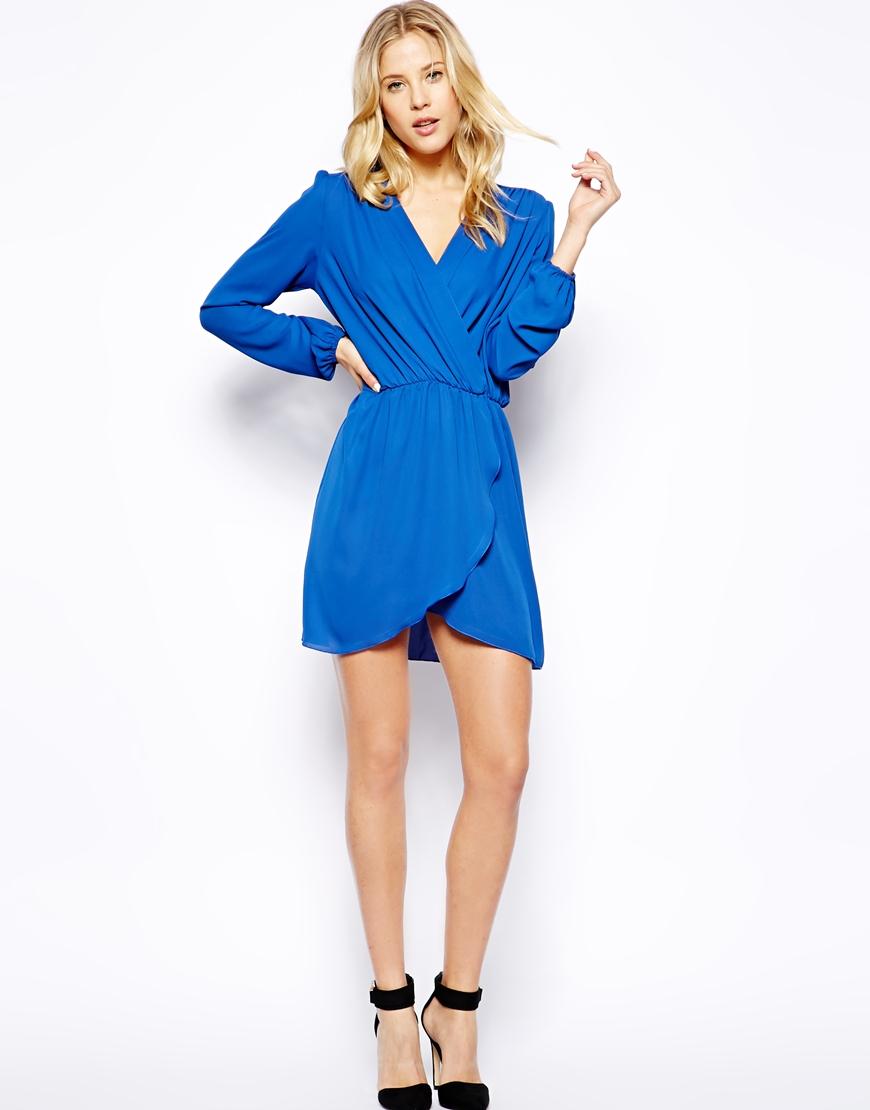 Love Long Sleeve Wrap Dress in Blue | Lyst