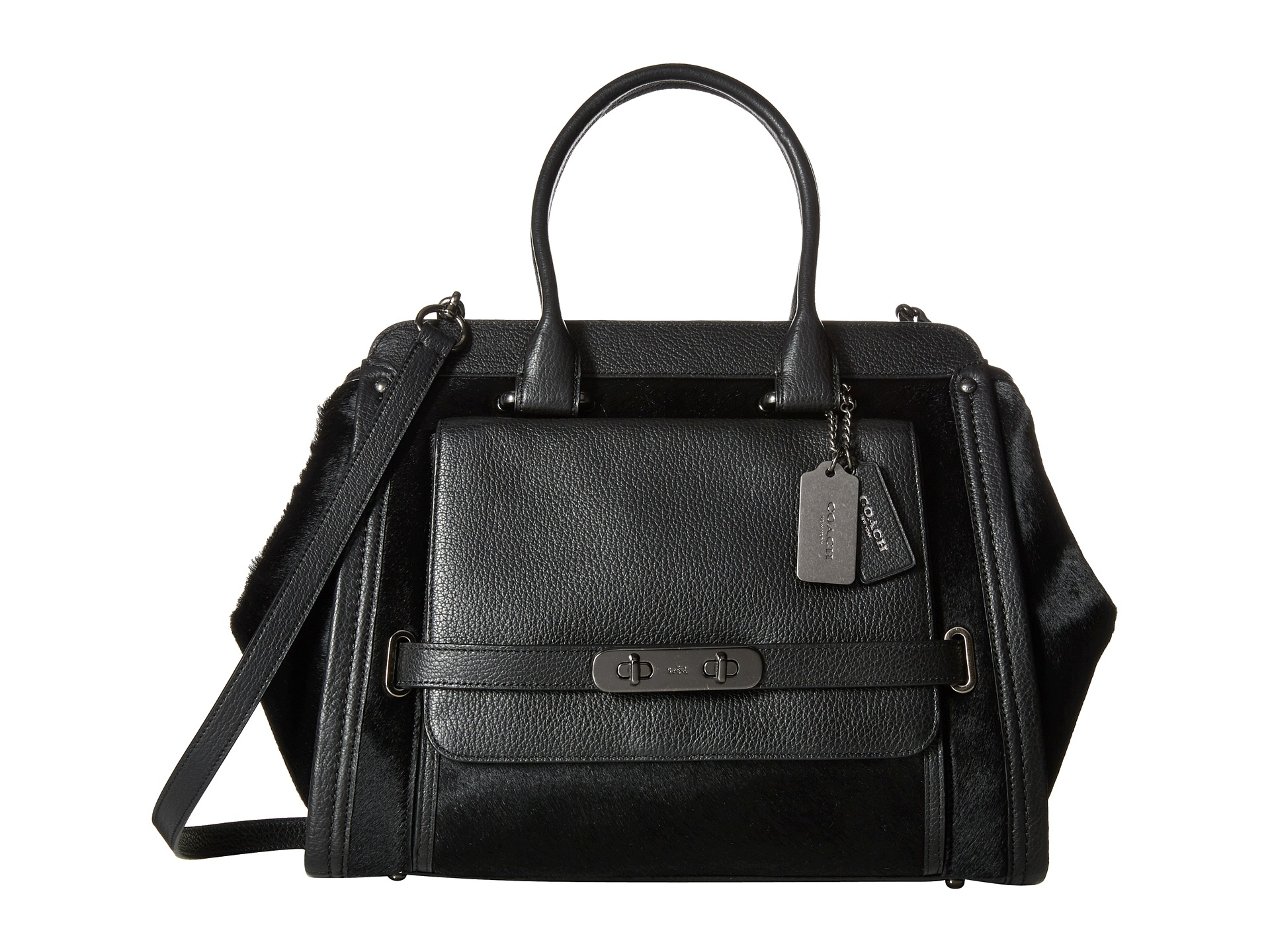 Lyst - Coach Haircalf Swagger Frame Satchel in Black
