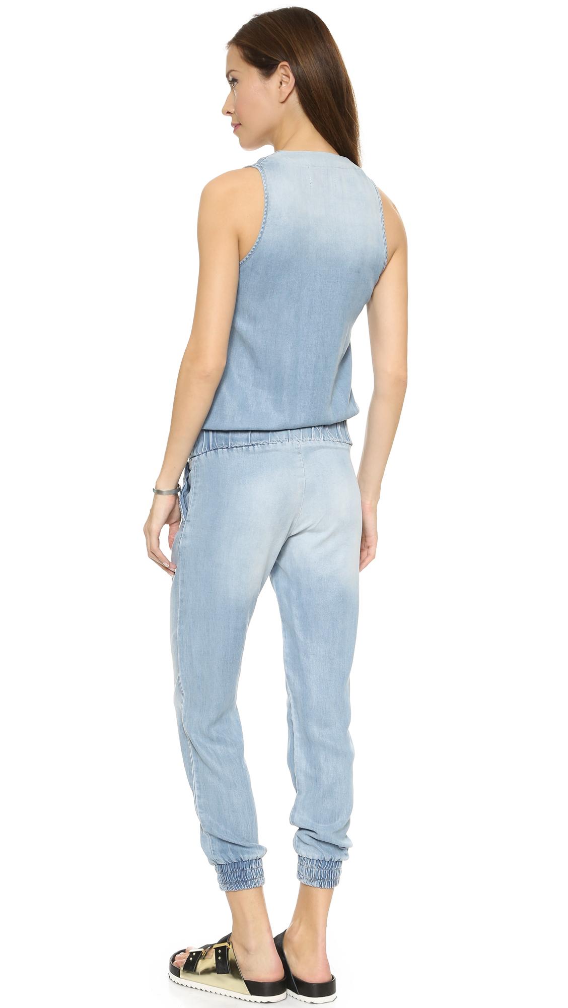 f66783f16bd Lyst - Monrow Tencel Jumpsuit - Denim in Blue