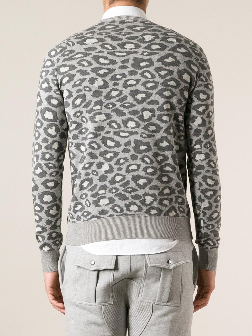 Michael bastian Leopard Print Sweater in Gray for Men | Lyst