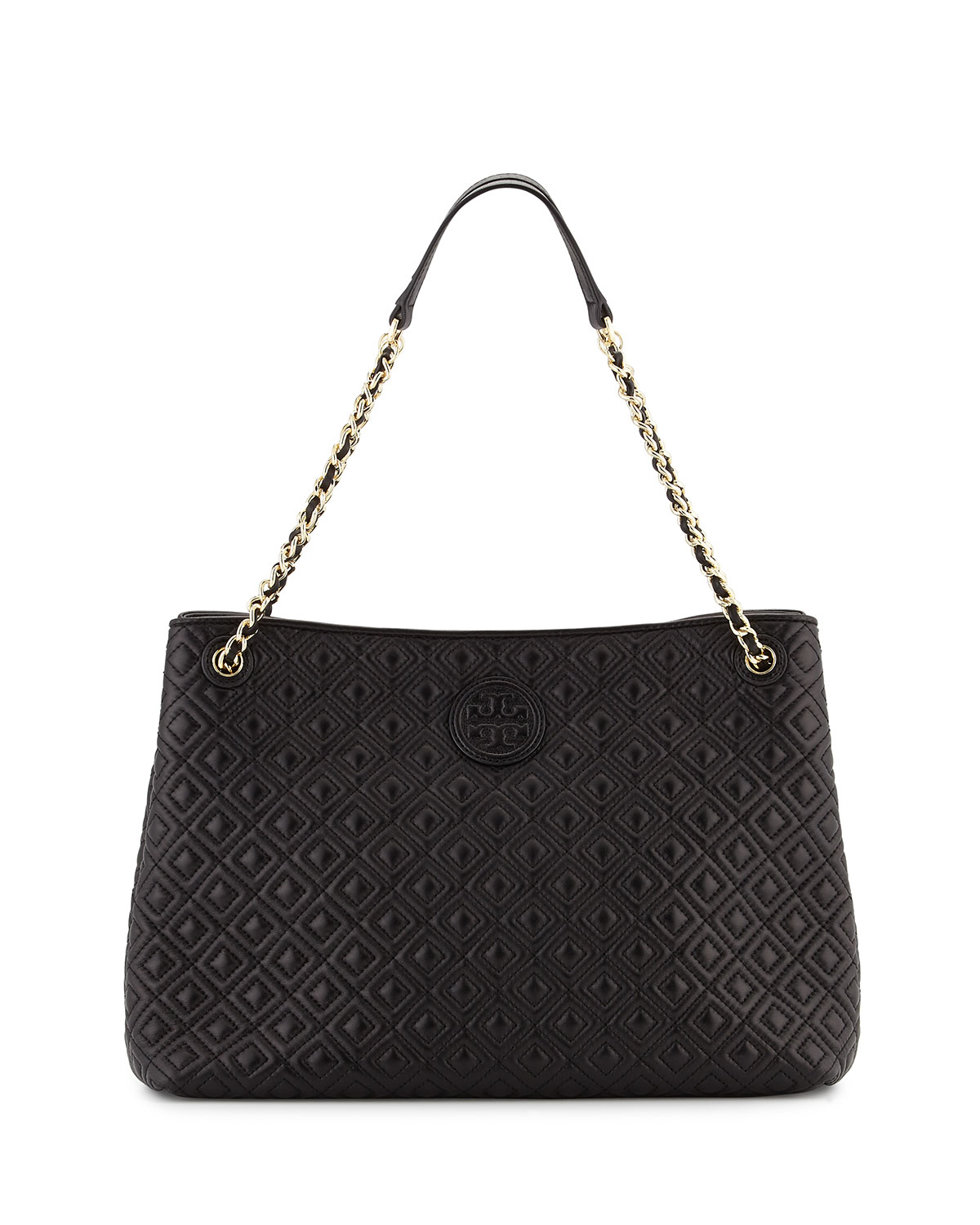 Tory Burch Marion Chain Strap Shoulder Slouch Bag In Black