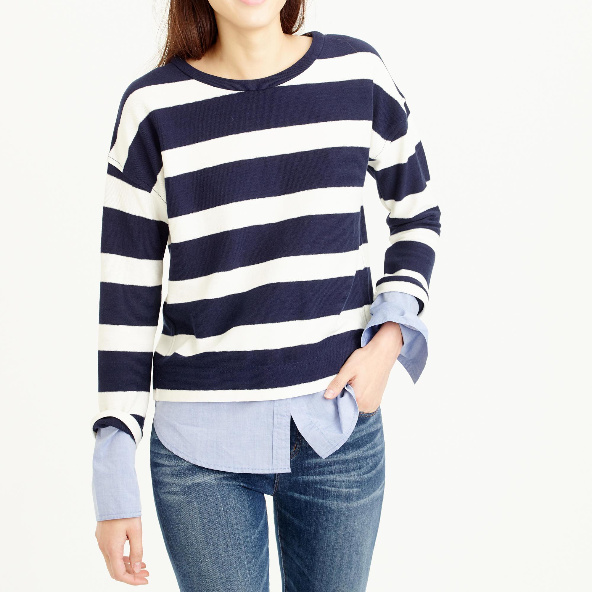 Striped long sleeve t shirt with shirttail hem in for Navy blue striped long sleeve shirt