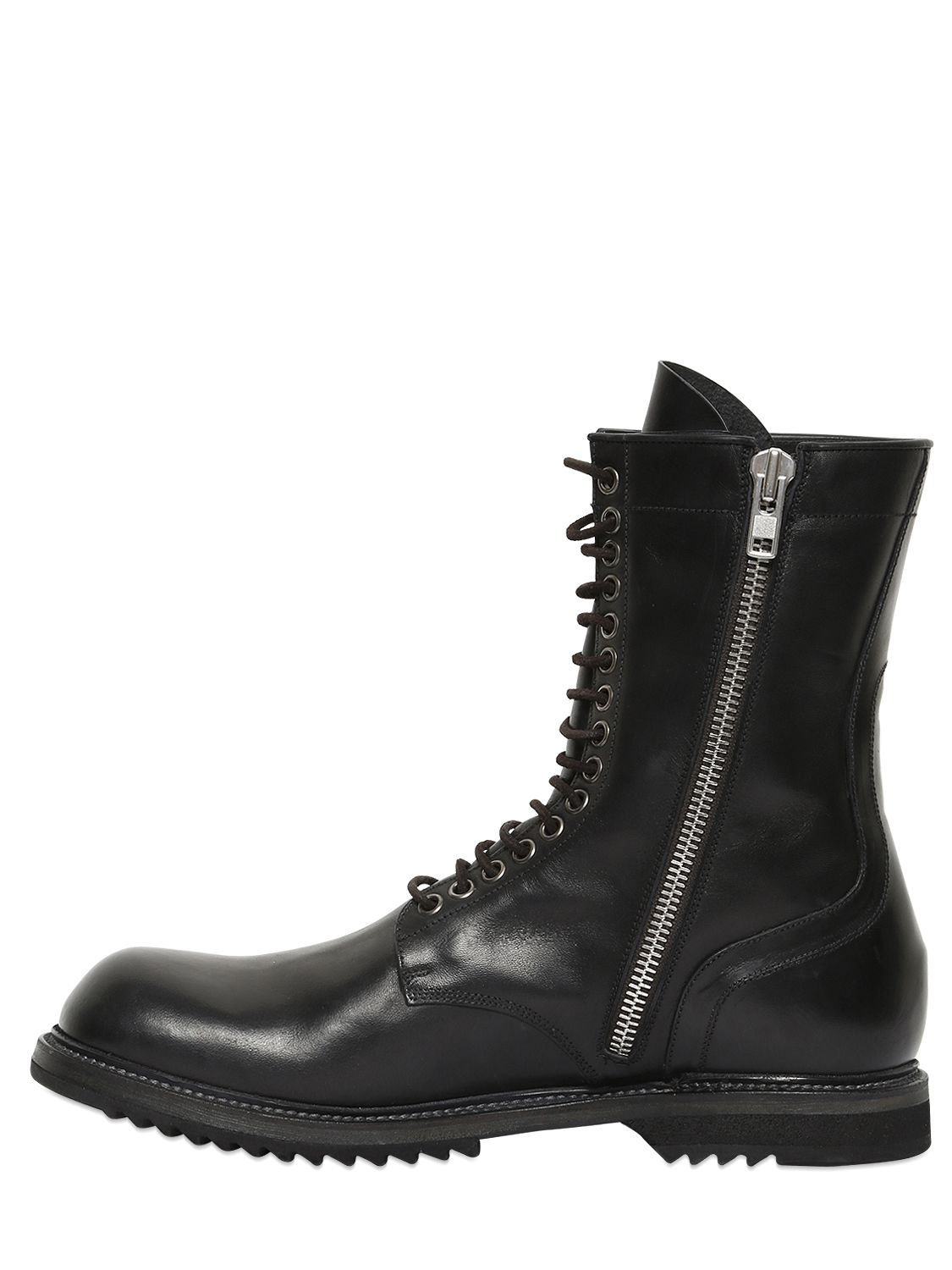 Lyst Rick Owens Horse Leather Combat Boots In Black For Men