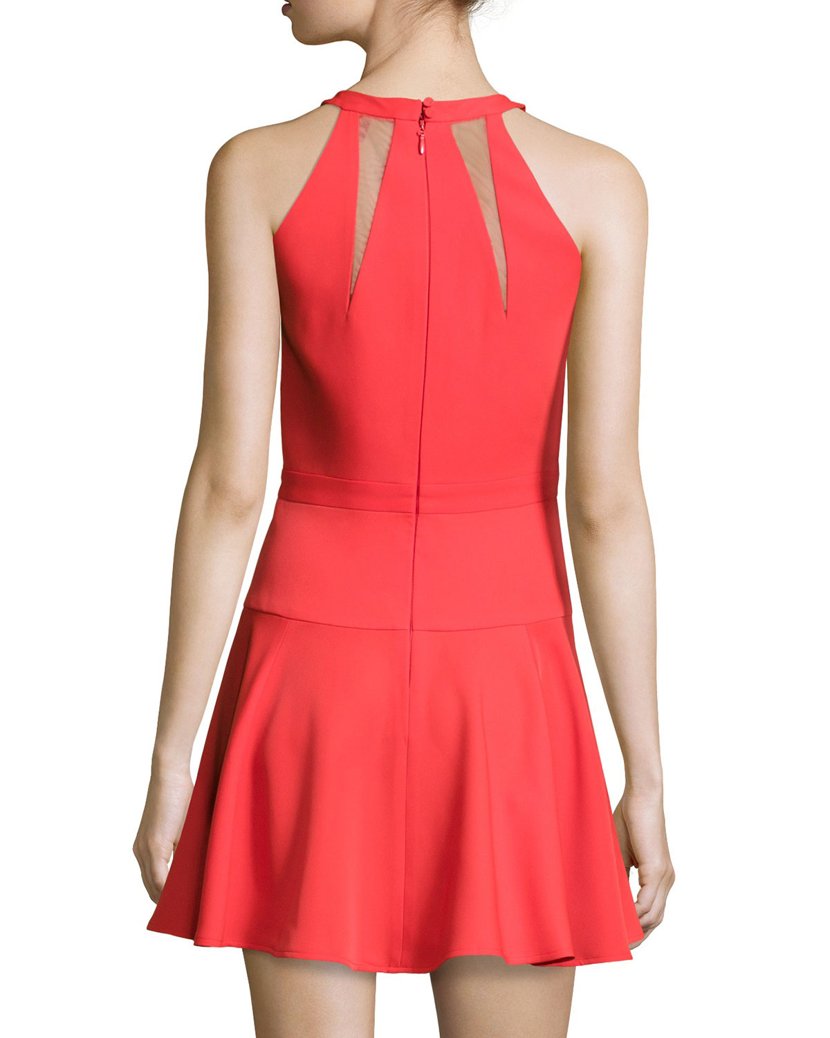 Lyst - Bcbgmaxazria Halter Mesh-inset Fit & Flare Cocktail Dress in Red