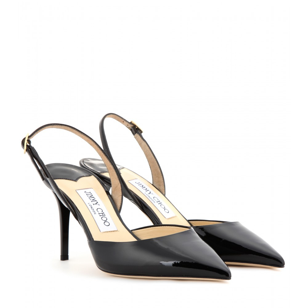 fbc133adca25 Lyst - Jimmy Choo Tilly Patent-leather Sling-back Pumps in Black
