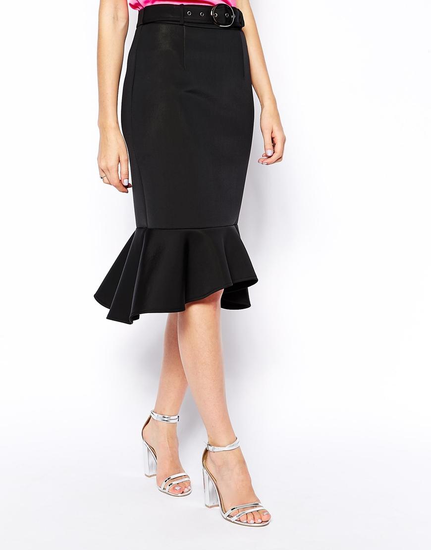 asos premium pencil skirt with belt in bonded scuba in