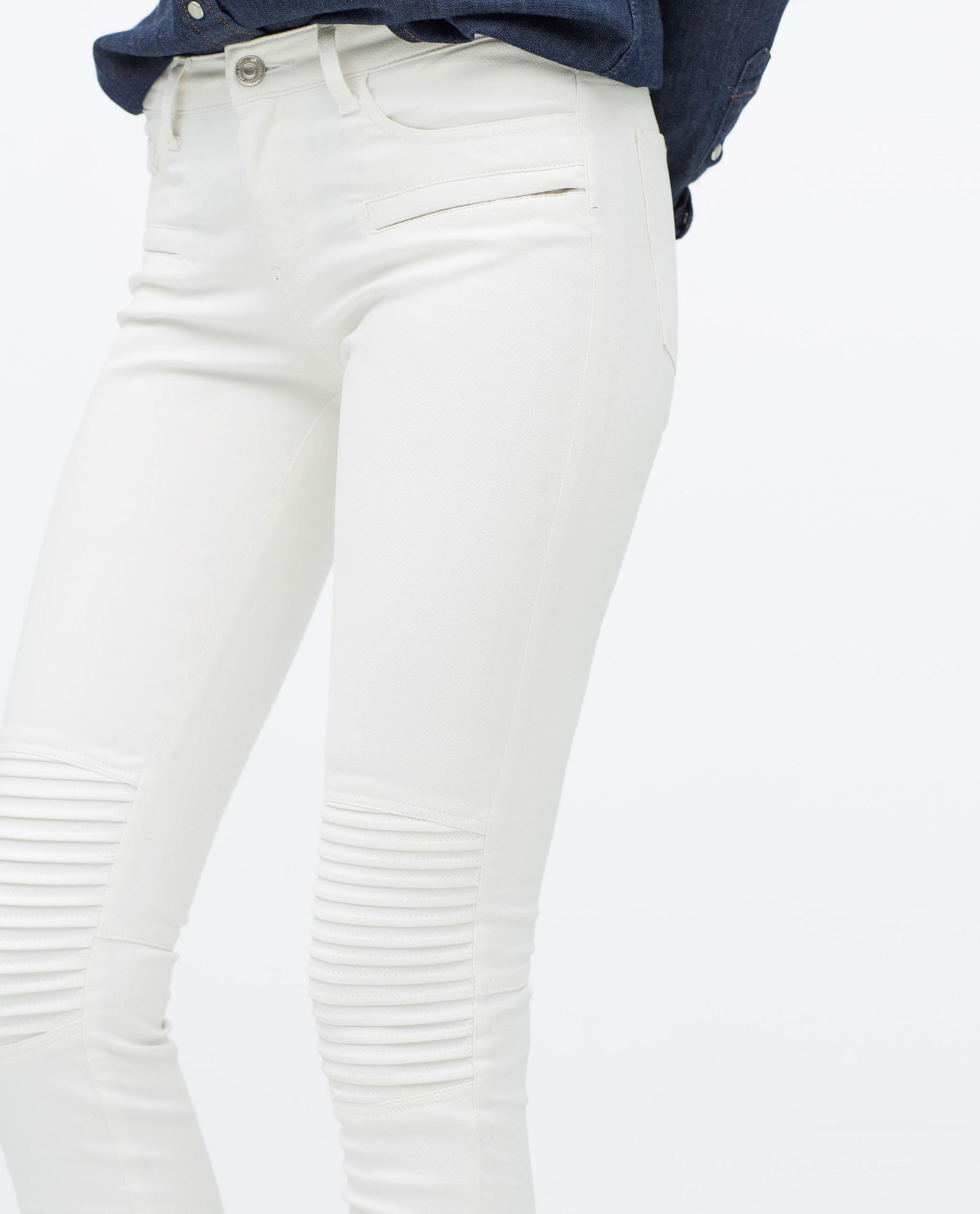 Zara Coated Jeans in White | Lyst
