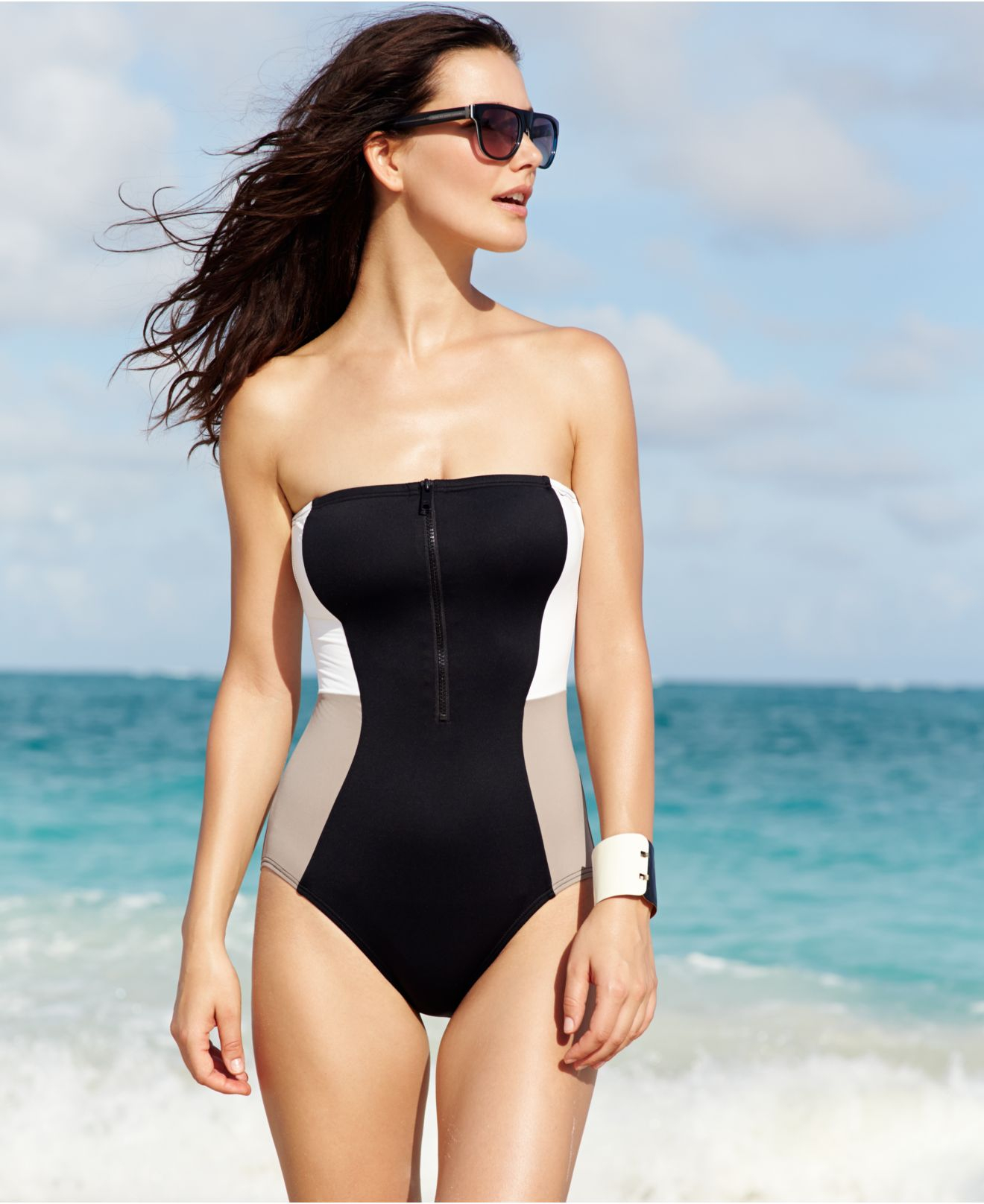 f80b17bcce Lyst - DKNY Colorblock Zip-Front One-Piece Swimsuit in Black
