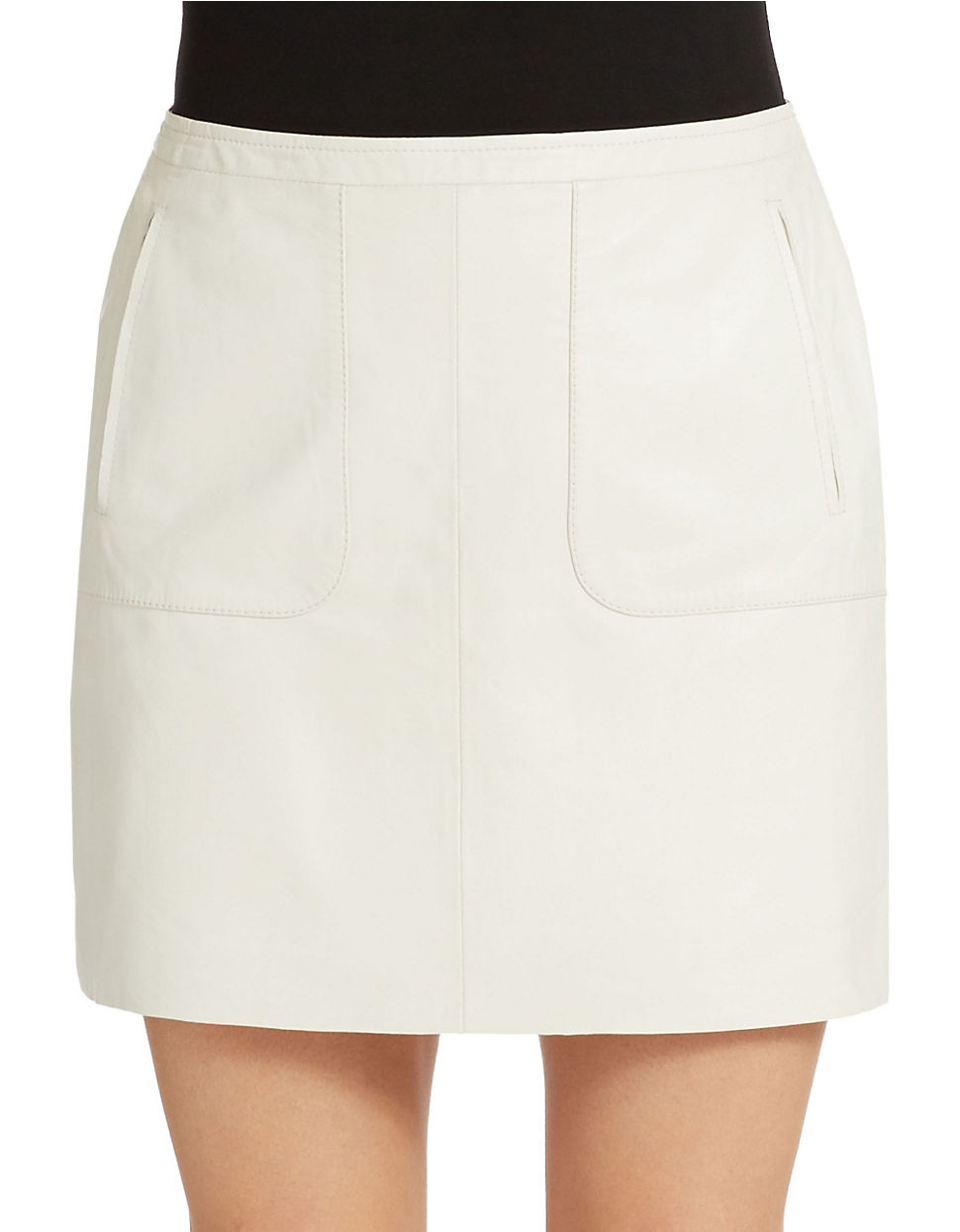 connection leather mini skirt in white summer