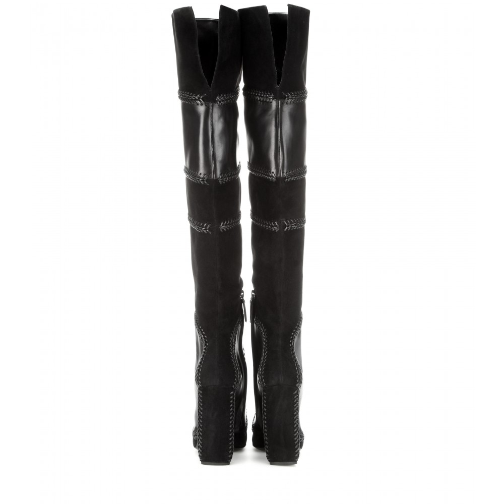 88529358f952b Tom Ford Suede And Leather Over-the-knee Boots in Black - Lyst