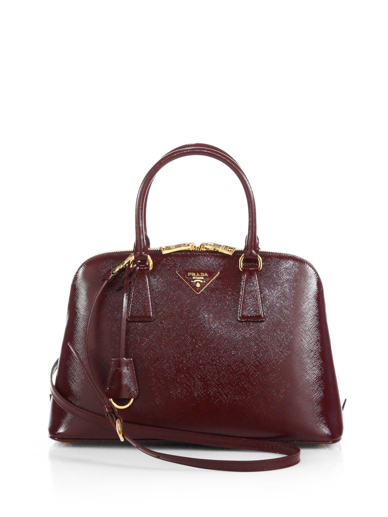 prada nylon tote bag black - Prada Saffiano Vernice Small Promenade Bag in Brown (GRANATO ...