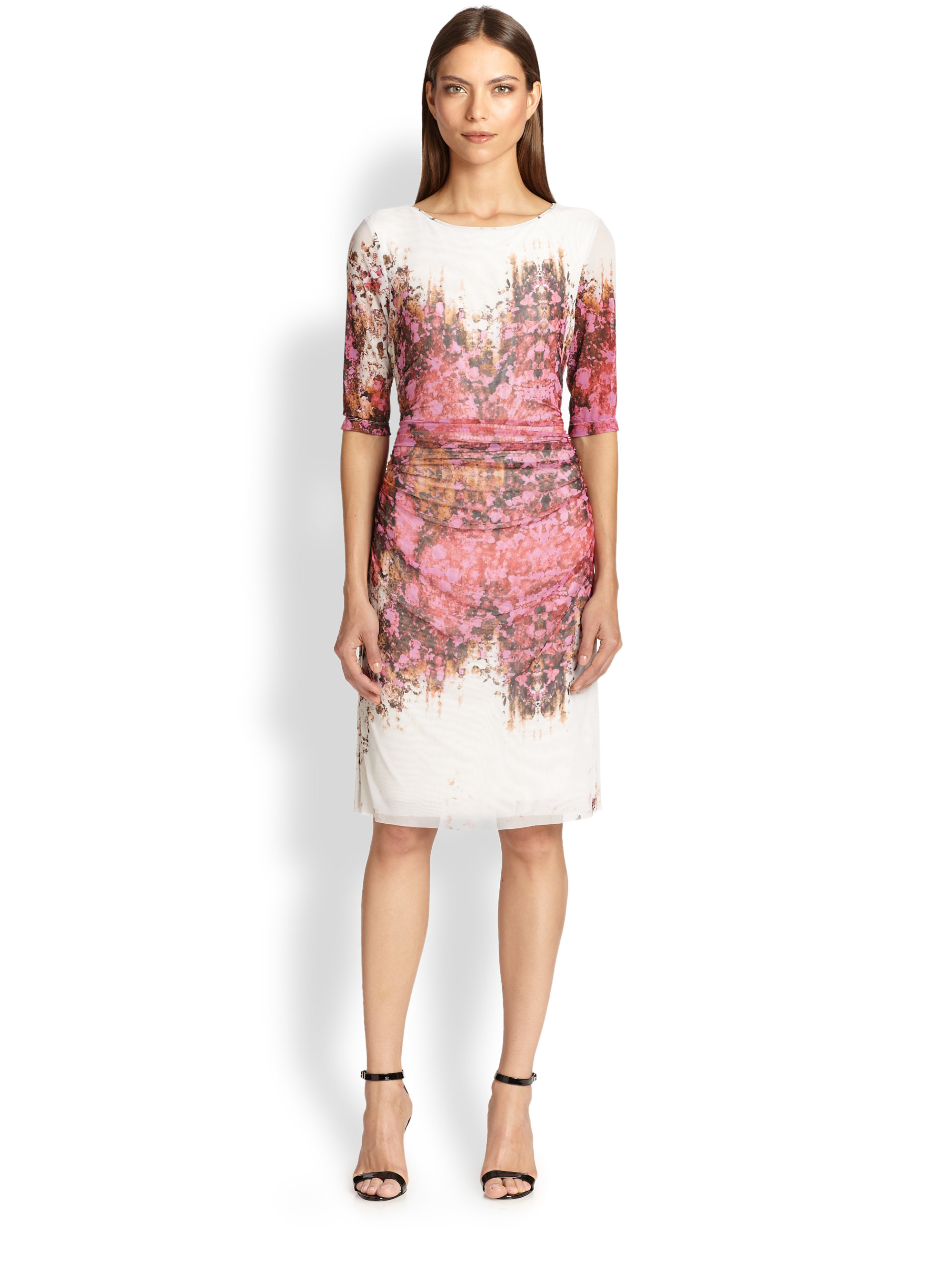 63d01e4f06 Lyst Kay Unger Printed Mesh Dress In Pink. Kay unger mesh illusion dress ck  collection ...