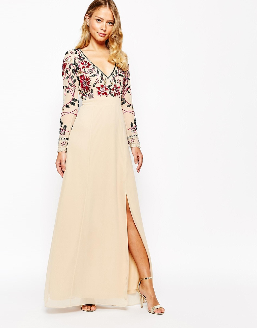 frock and frill floral embellished thigh split maxi dress with plunge neck and back in natural. Black Bedroom Furniture Sets. Home Design Ideas