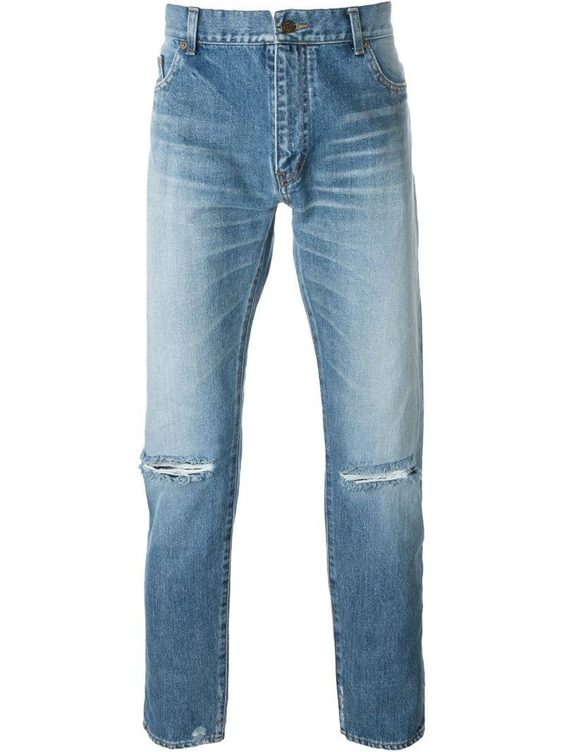 saint laurent distressed jeans in blue for men lyst. Black Bedroom Furniture Sets. Home Design Ideas