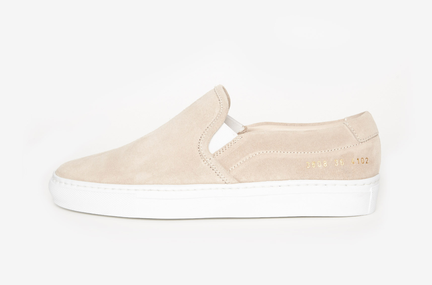 lyst common projects slip on suede in natural. Black Bedroom Furniture Sets. Home Design Ideas