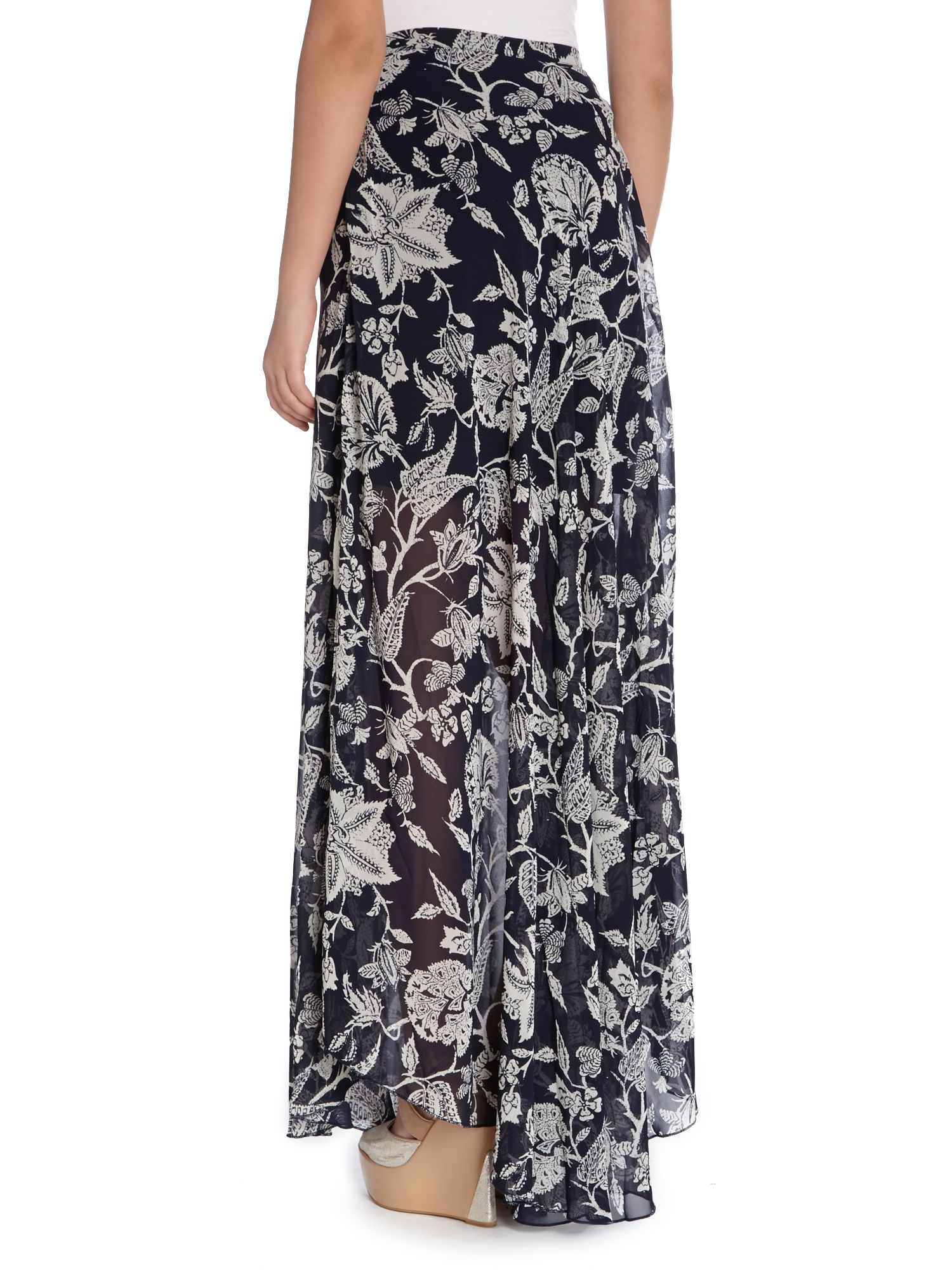 izabel shell print maxi skirt in blue blue multi