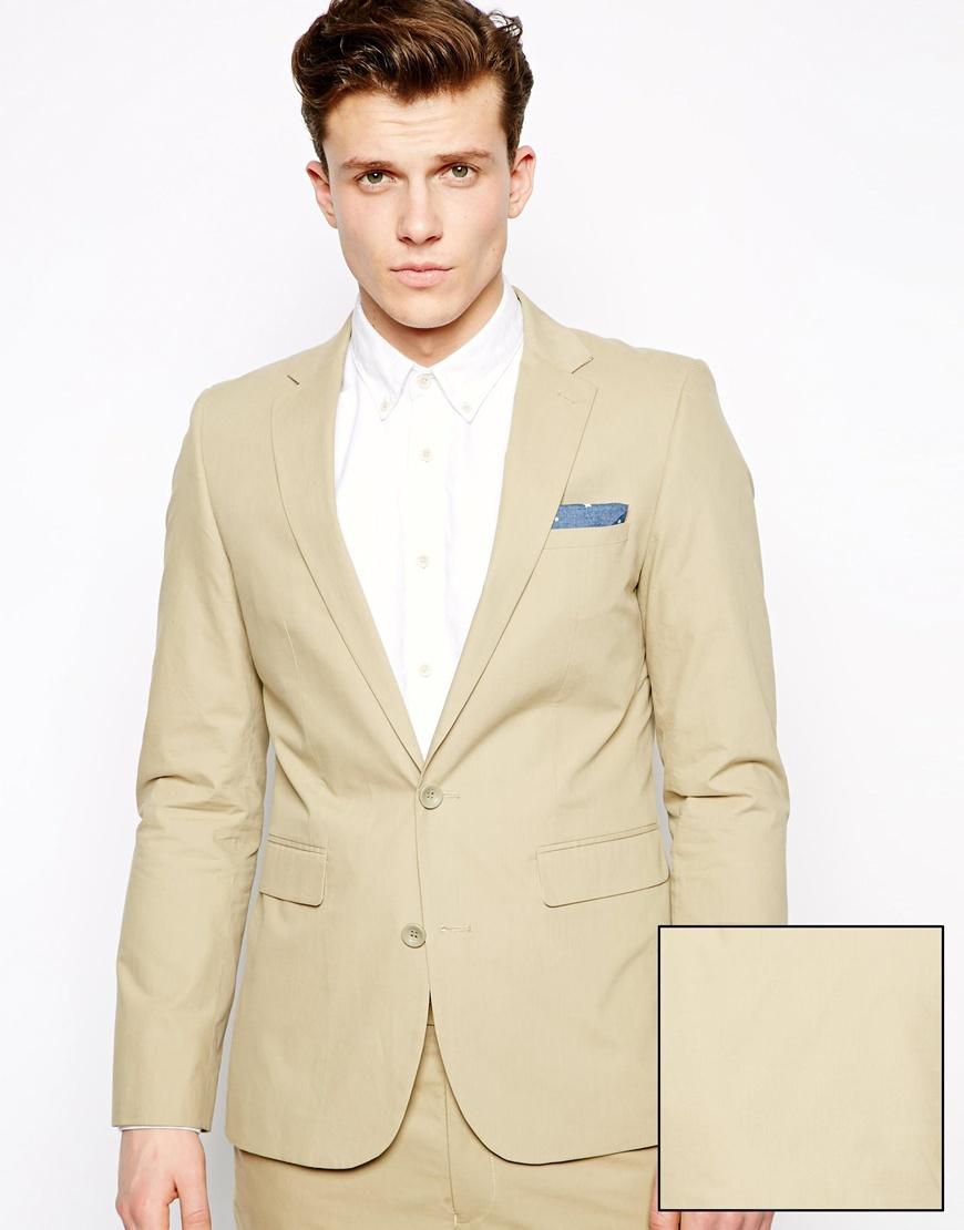 Asos Slim Fit Suit Jacket In Poplin in Natural for Men | Lyst