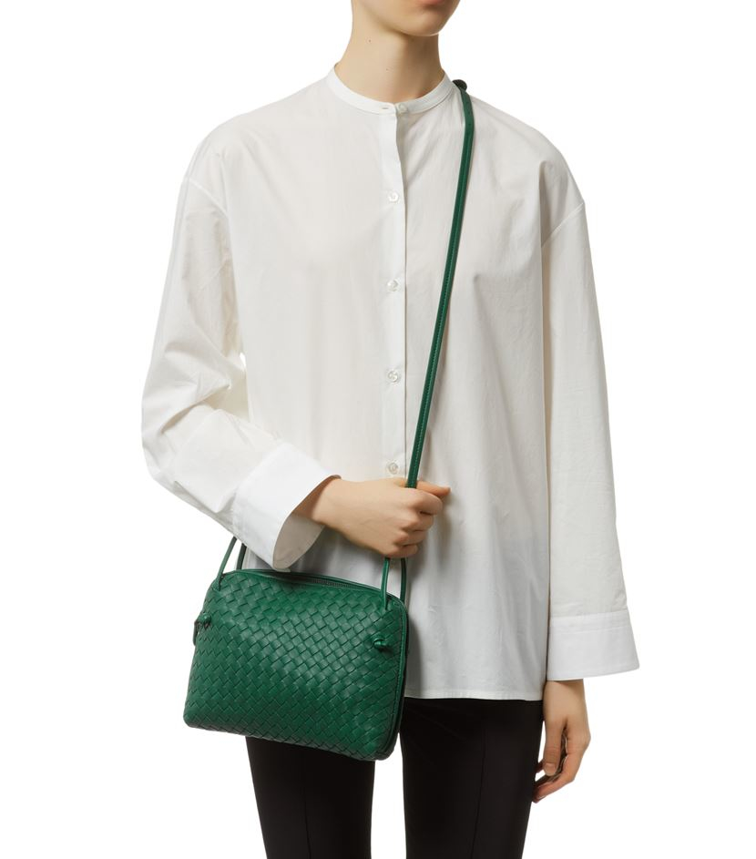 Bottega Veneta Small Intrecciato Nappa Crossbody Bag in Green - Lyst 9841deb338d96