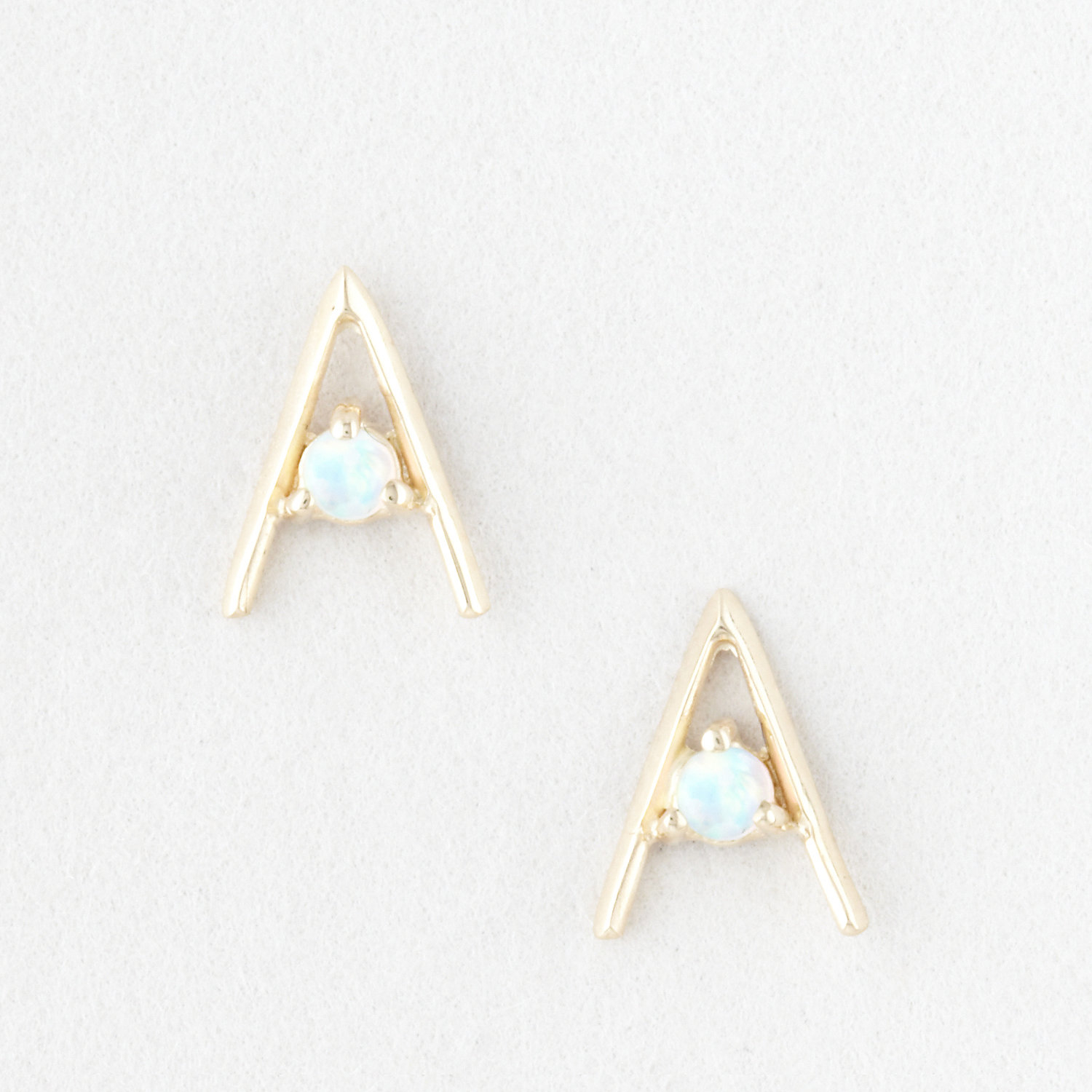 Triangle Earrings: Wwake Triangle Earrings With Small Opals In Gold (YEL GOLD