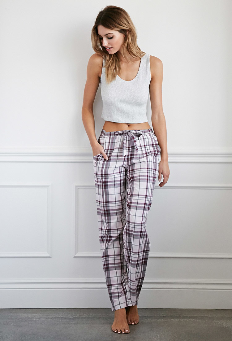 Forever 21 Plaid Flannel Pj Pants in Pink | Lyst