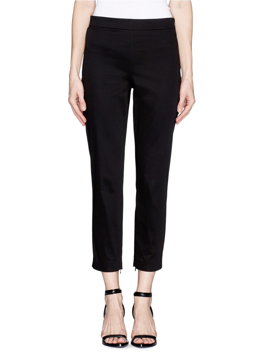 Theory Tonerma Zip Cuff Cropped Pants In Black Lyst