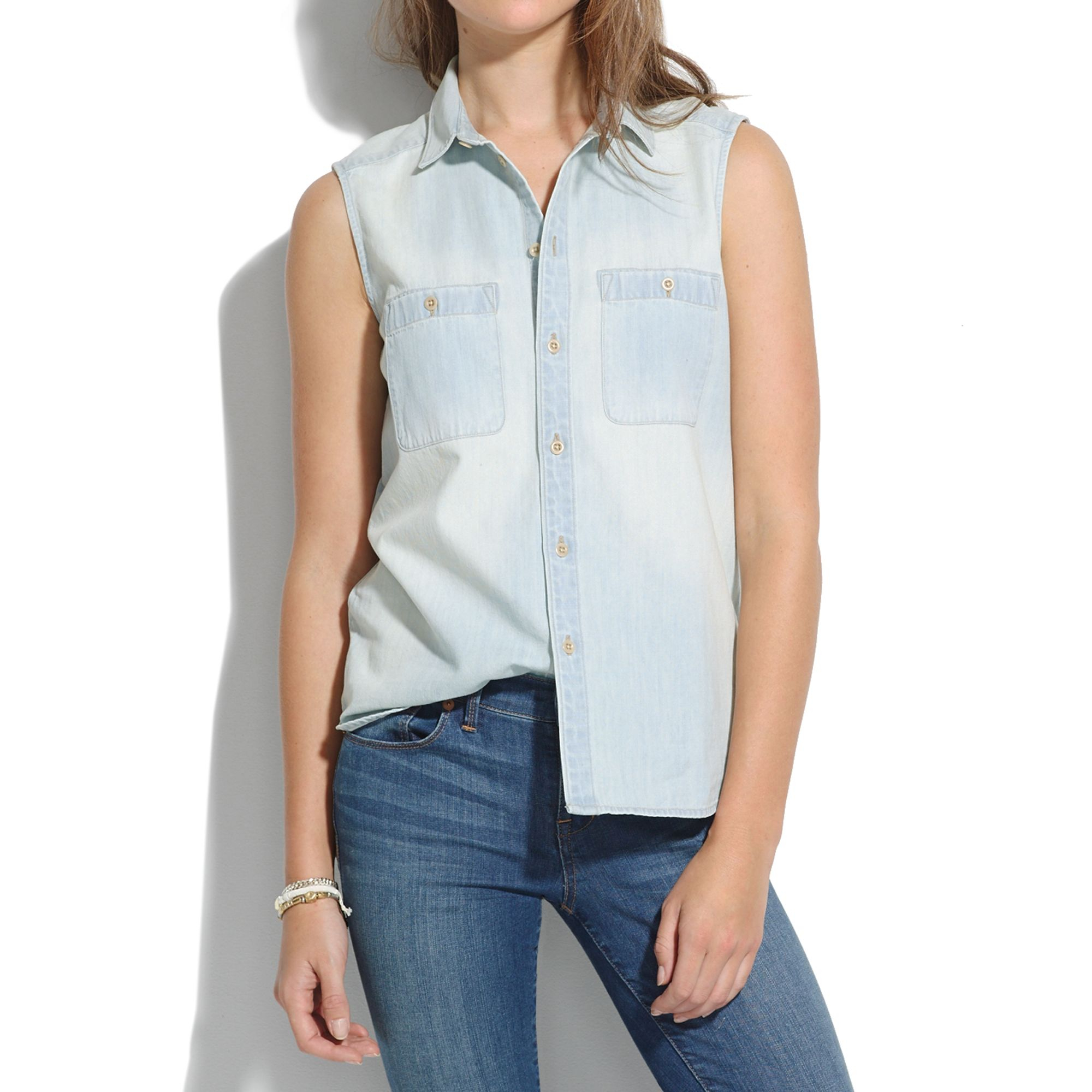 Lyst madewell chambray workbench top in sunflare in blue for Chambray top