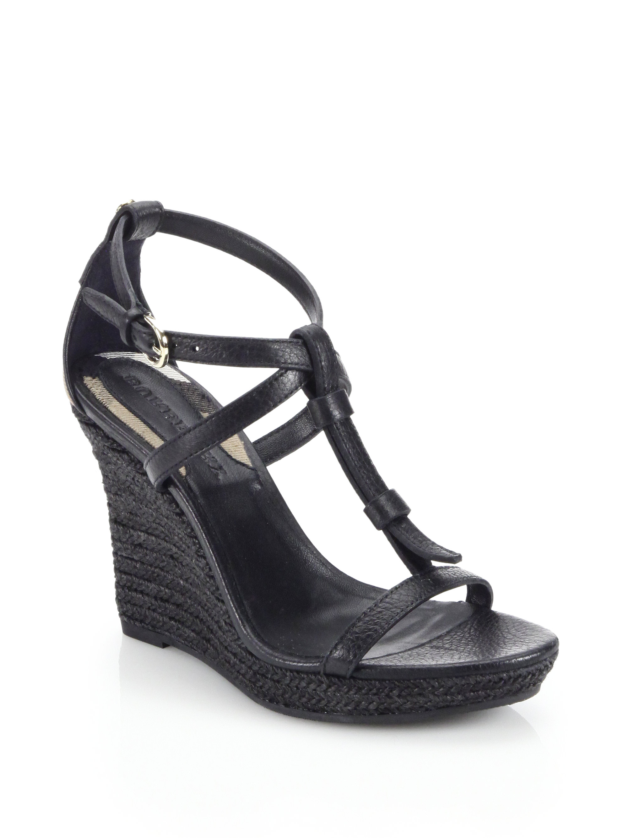 72658e53b12e Lyst - Burberry Wedland Leather Espadrille Wedge Sandals in Black