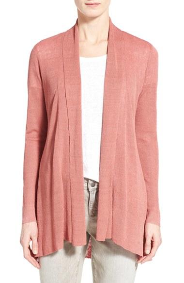 524f6e88f9 Lyst - Eileen Fisher Organic Linen Blend Shaped Open Front Cardigan ...