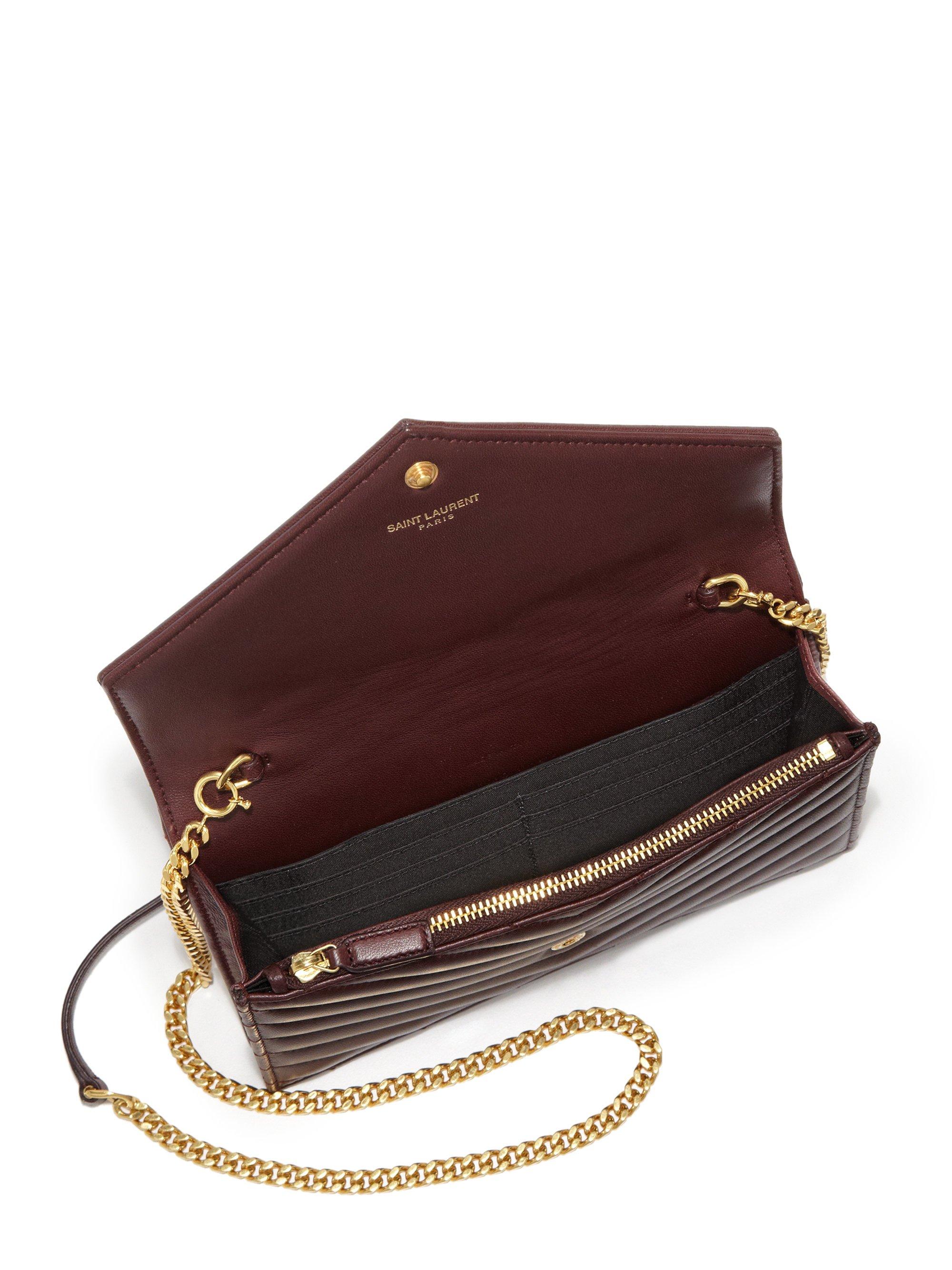 Lyst - Saint Laurent Monogramme Matelasse Leather Chain Wallet in Purple da1a225eee