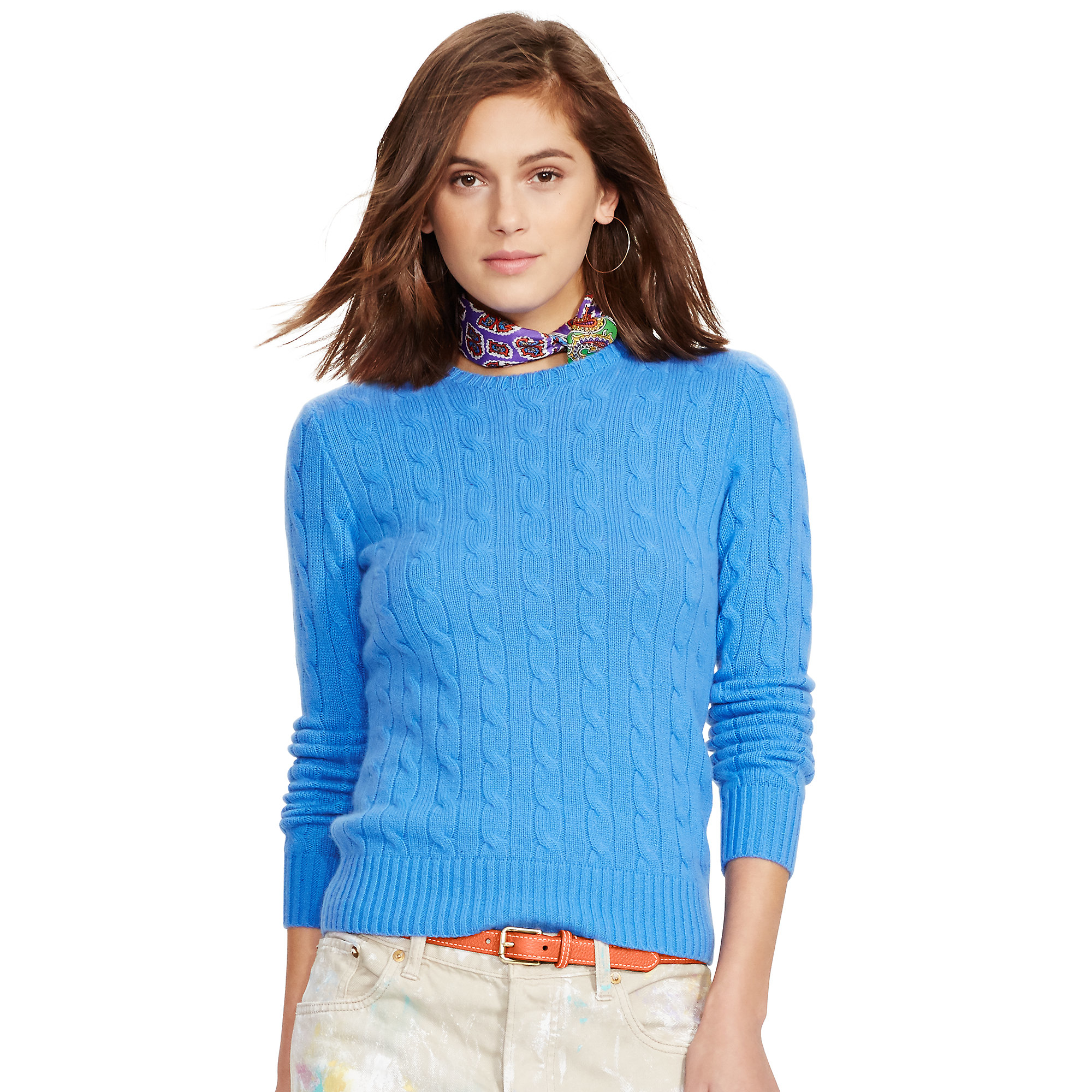 Polo ralph lauren Slim Cable Cashmere Sweater in Blue | Lyst