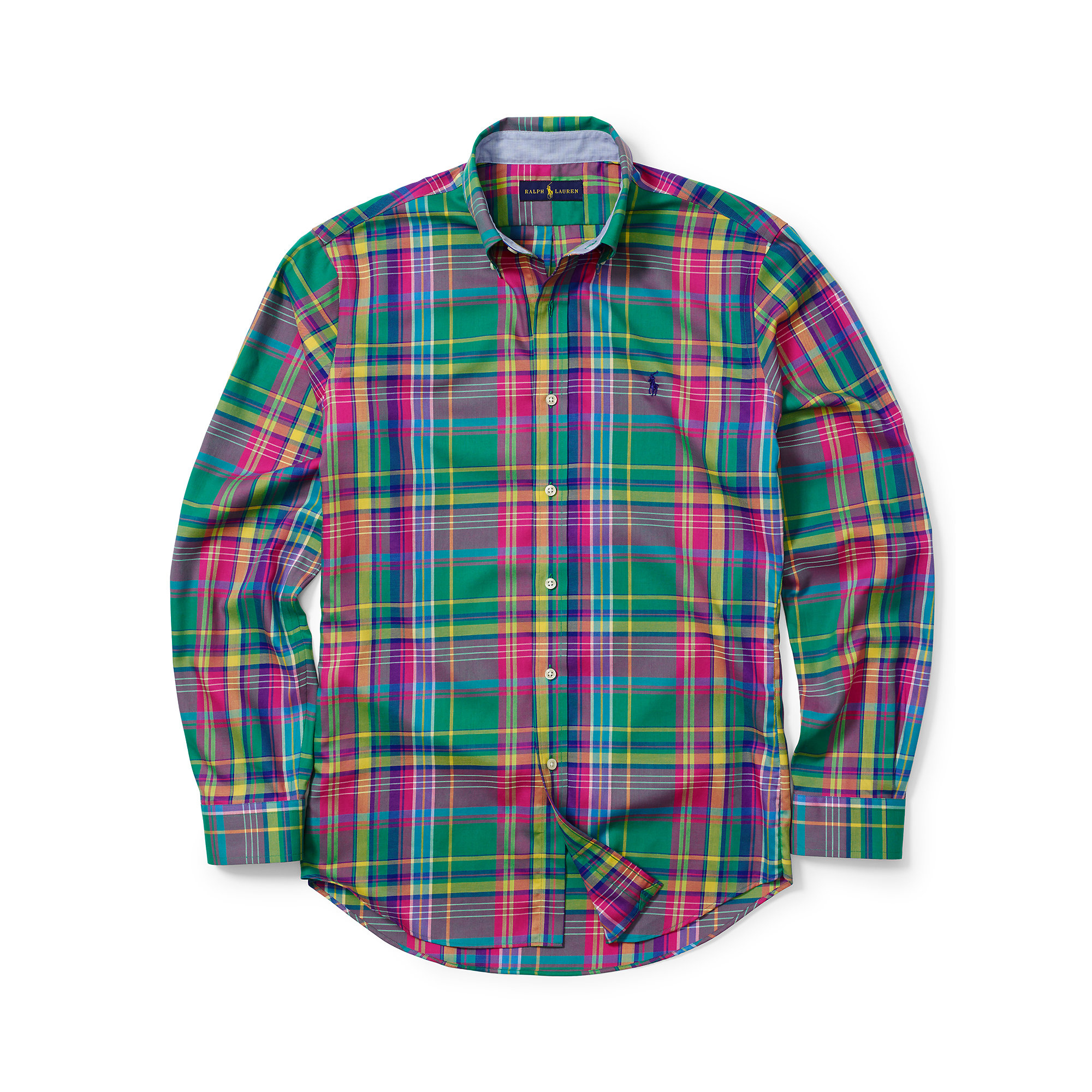 Ralph Lauren Plaid Cotton Poplin Shirt In Green For Men Lyst