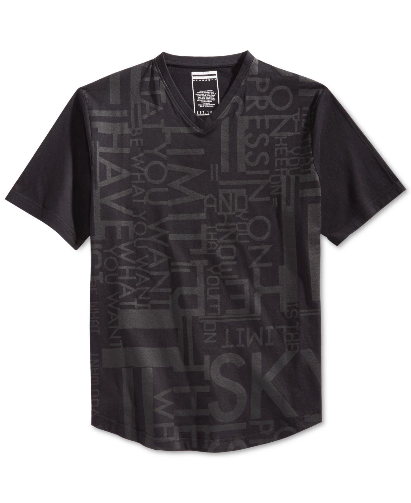 Sean john men 39 s sky is the limit t shirt in black for men for Sean john t shirts for mens